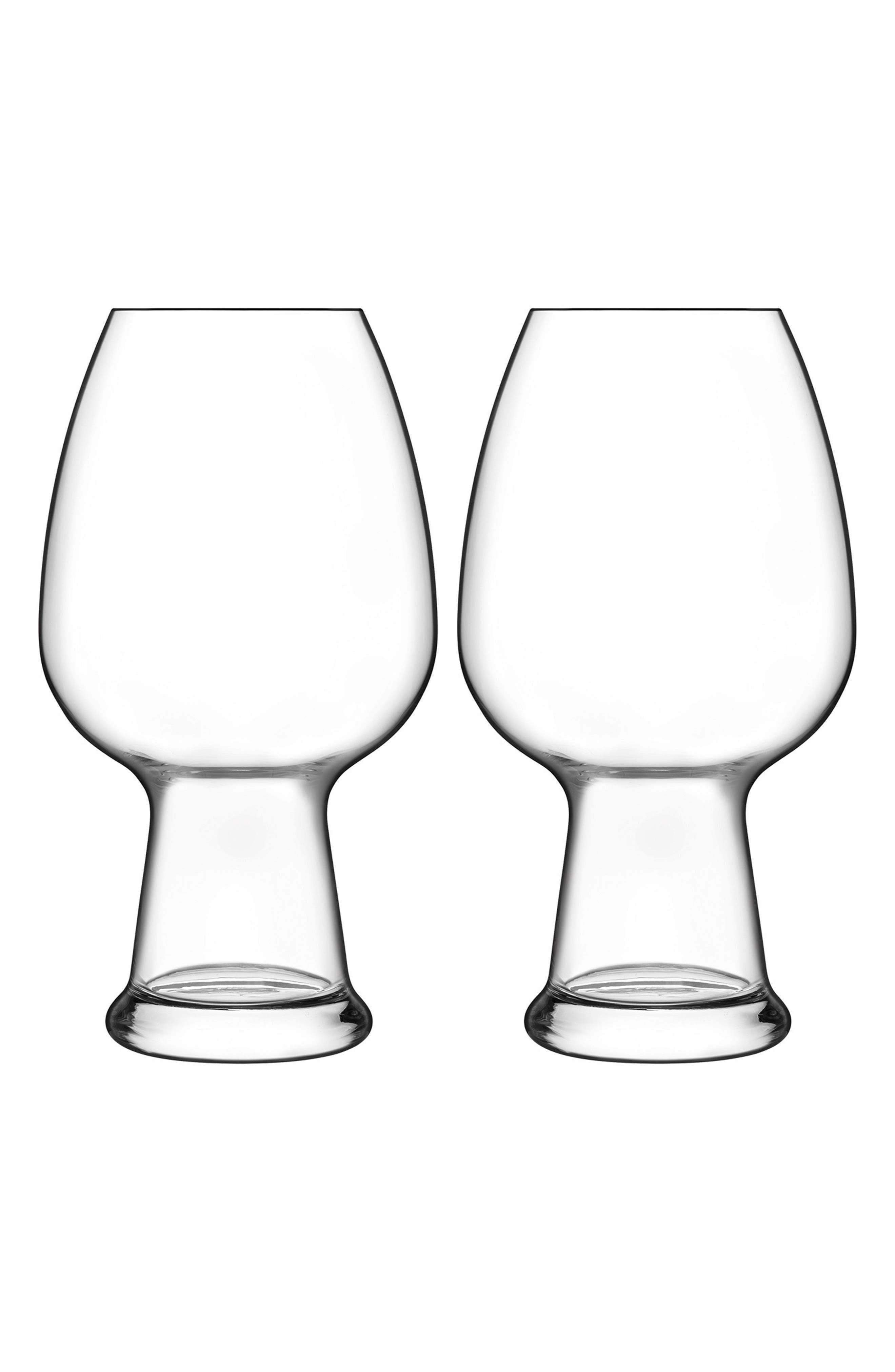Birrateque Set of 2 Wheat Beer Glasses,                         Main,                         color, Clear