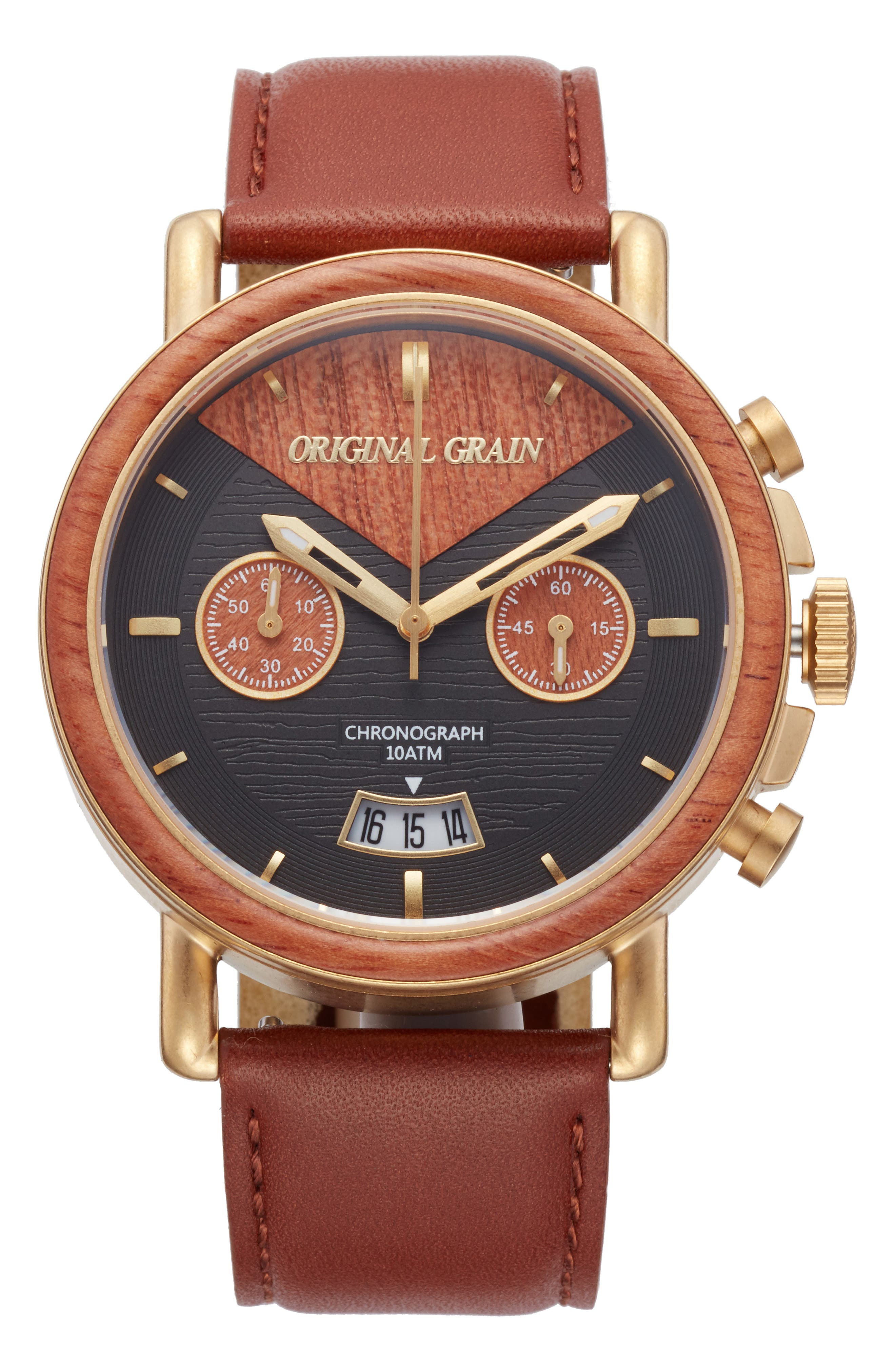 Main Image - Original Grain Alterra Chronograph Leather Strap Watch, 44mm