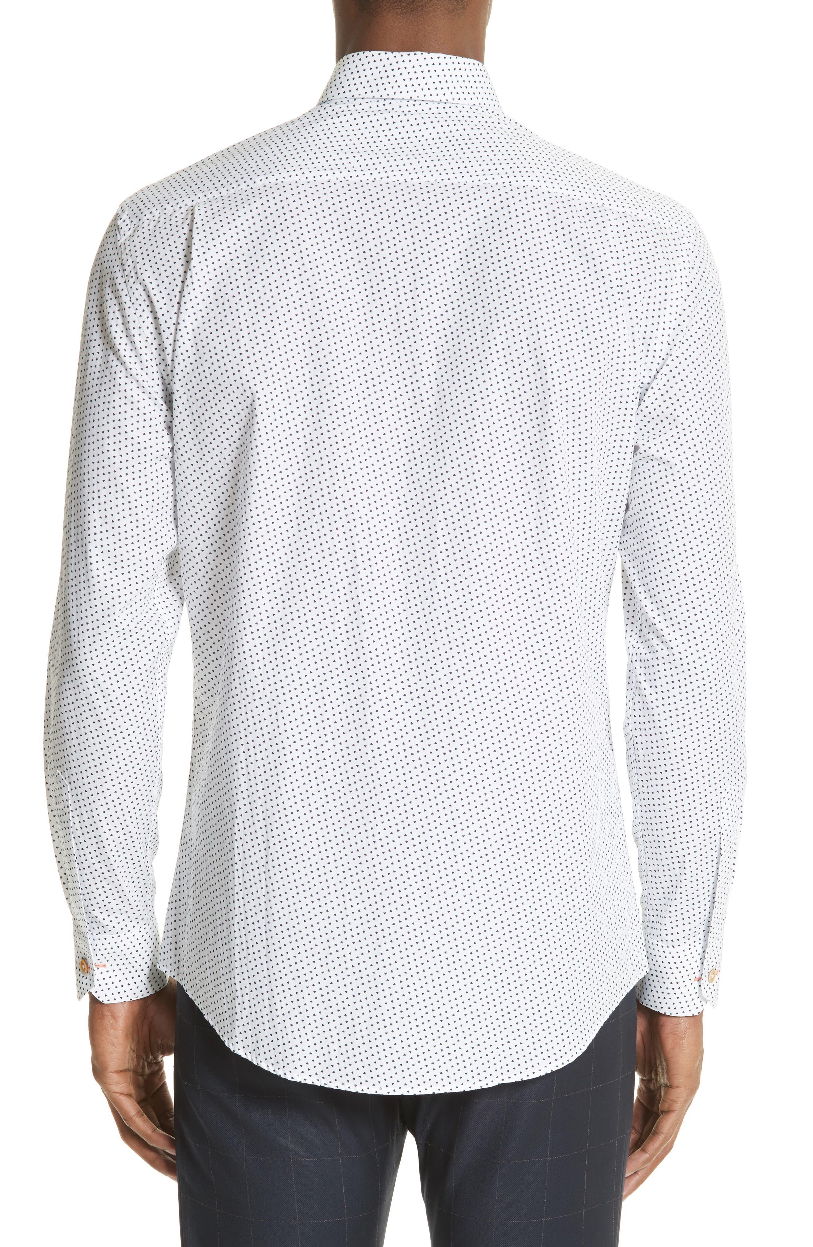 Heart Print Sport Shirt,                             Alternate thumbnail 2, color,                             White