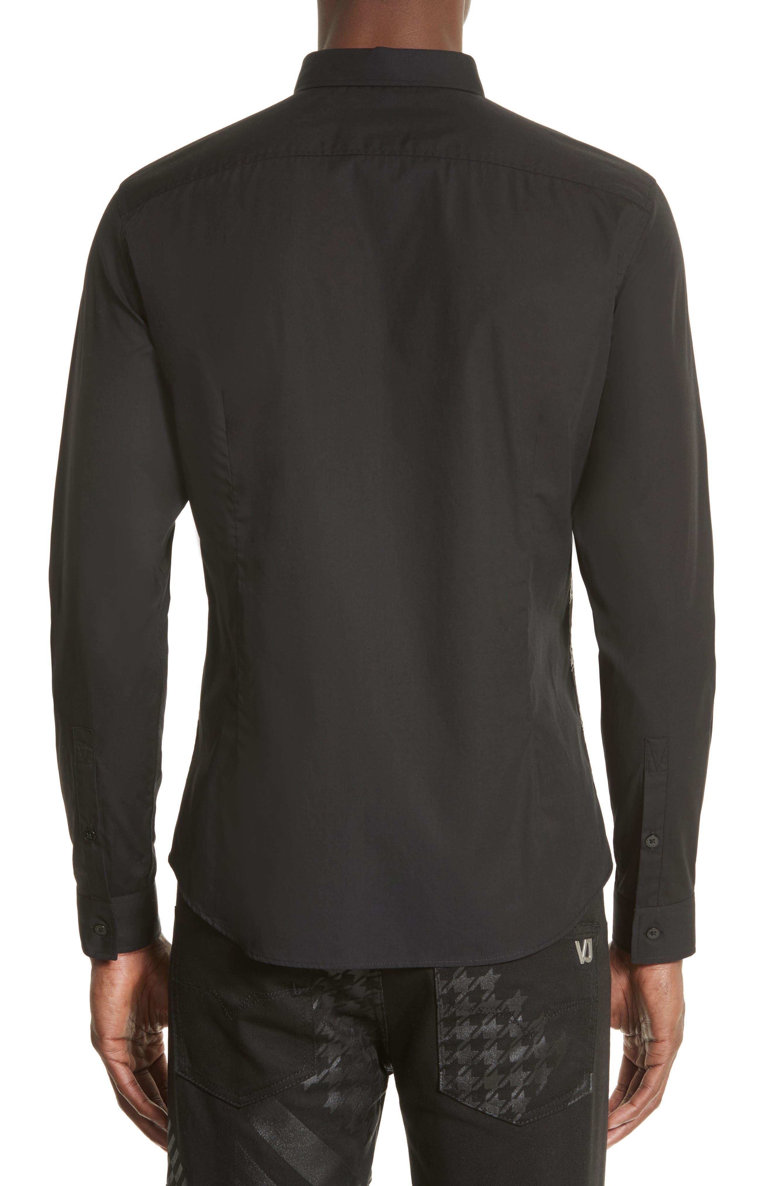 Tiger Print Sport Shirt,                             Alternate thumbnail 2, color,                             Black