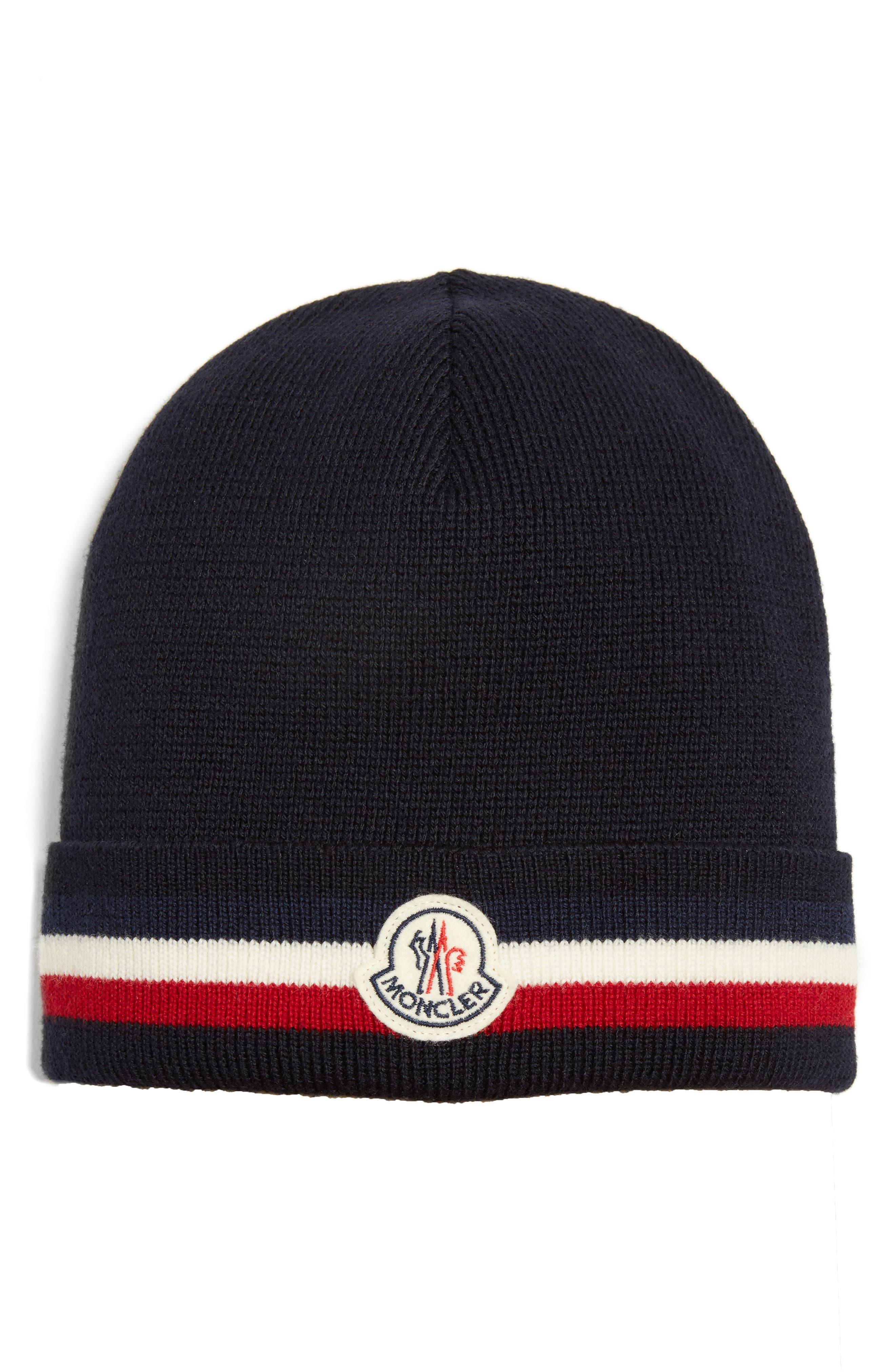 Moncler Logo Patch Wool Beanie
