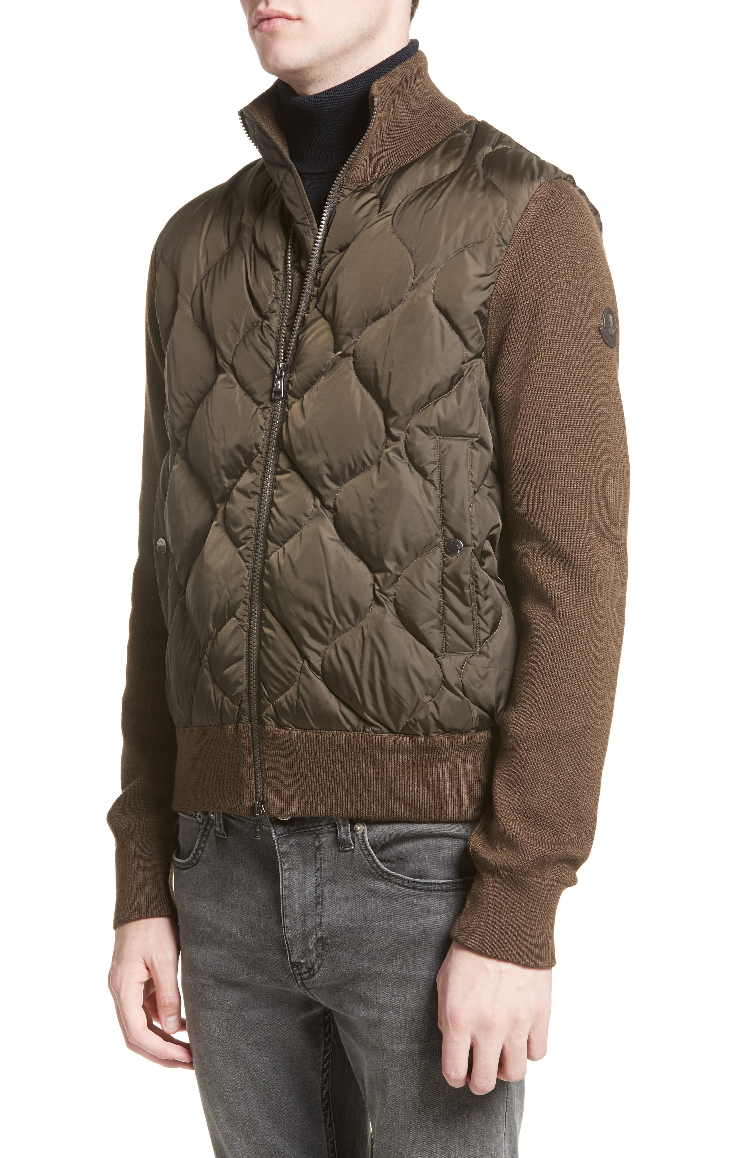 Maglione Knit Sleeve Quilted Jacket,                         Main,                         color, Olive