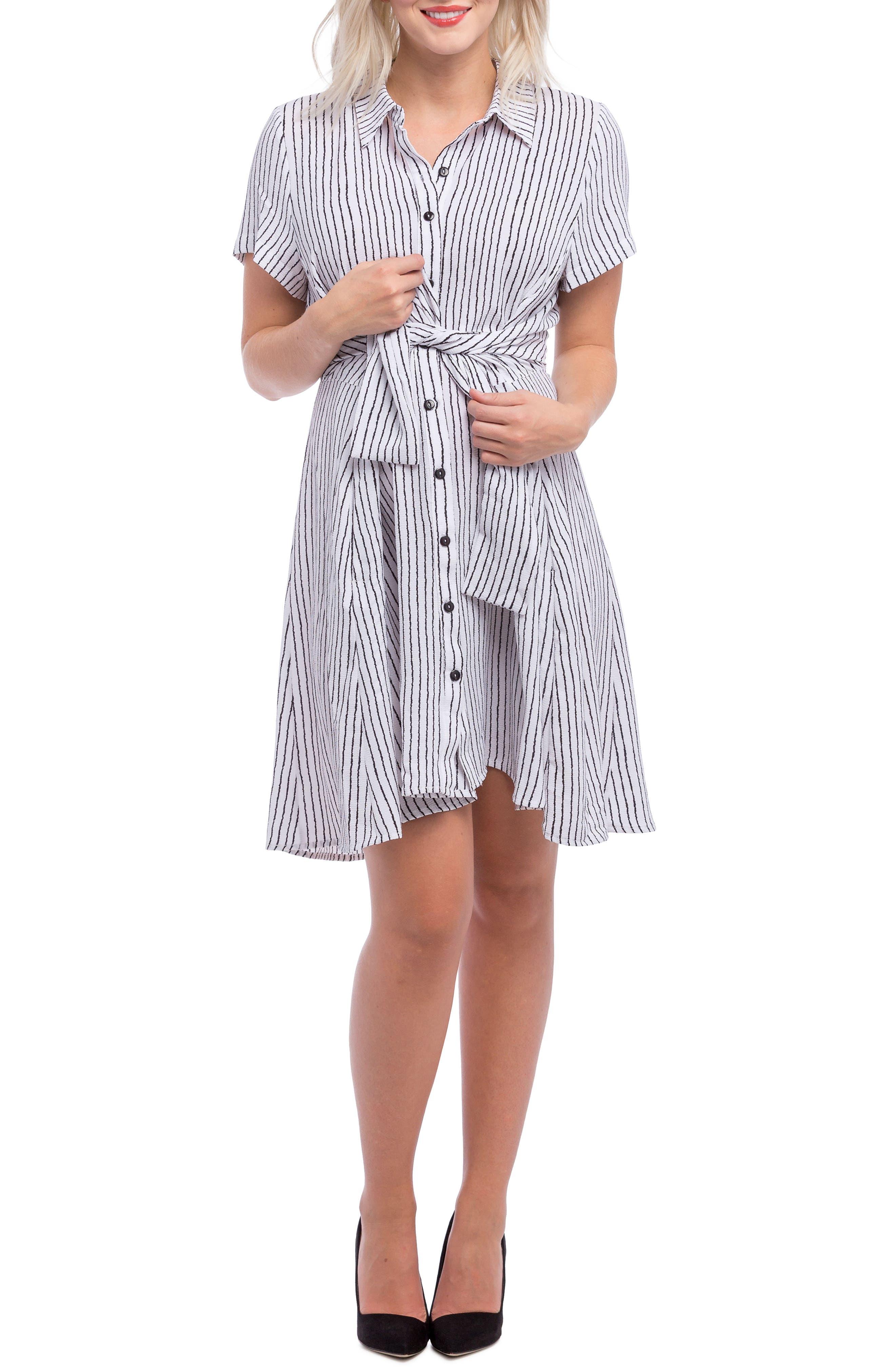 Lilac Clothing Stripe Maternity Shirt Dress