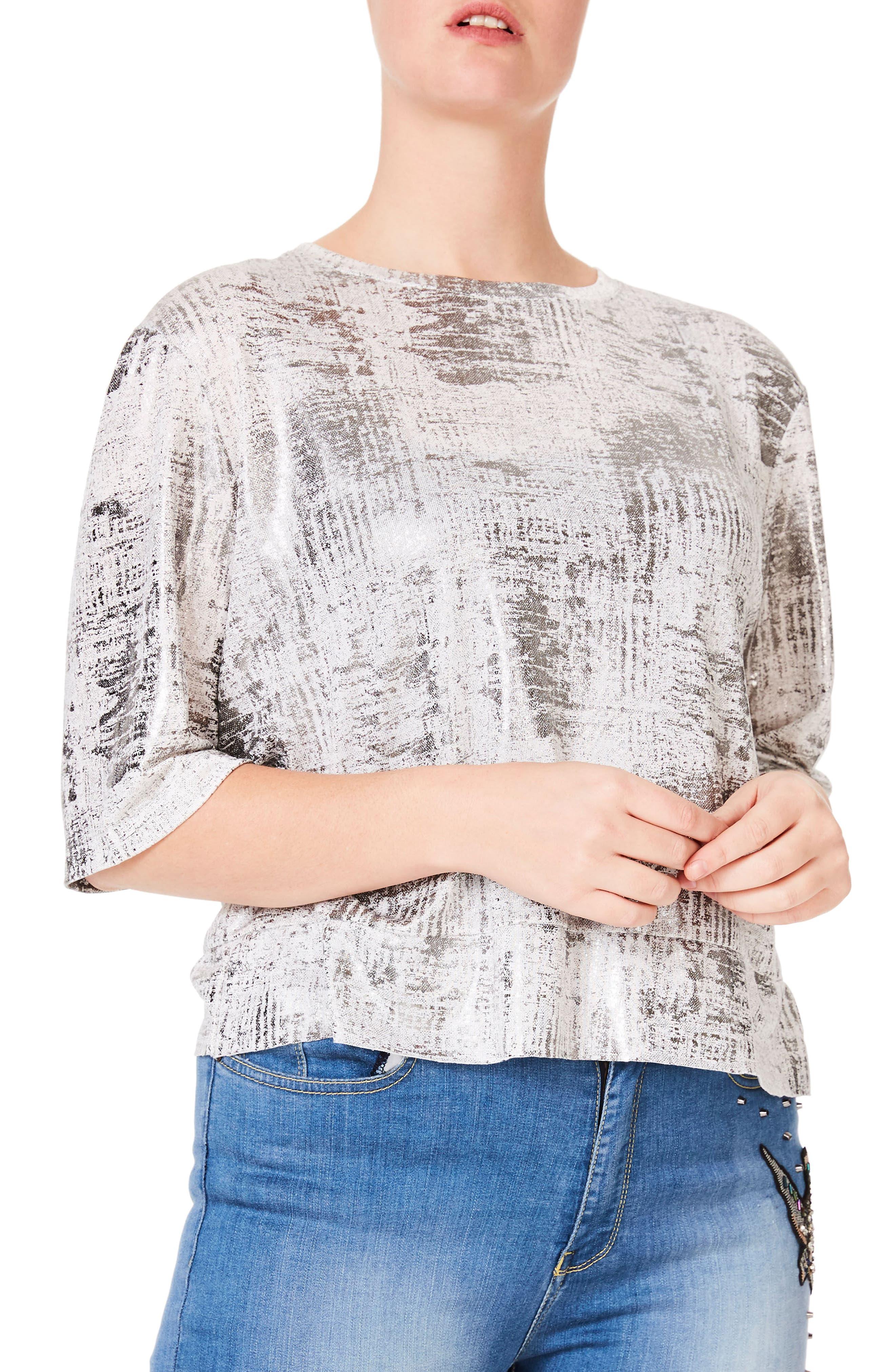 Metallic Jersey Top,                         Main,                         color, Silver/ White