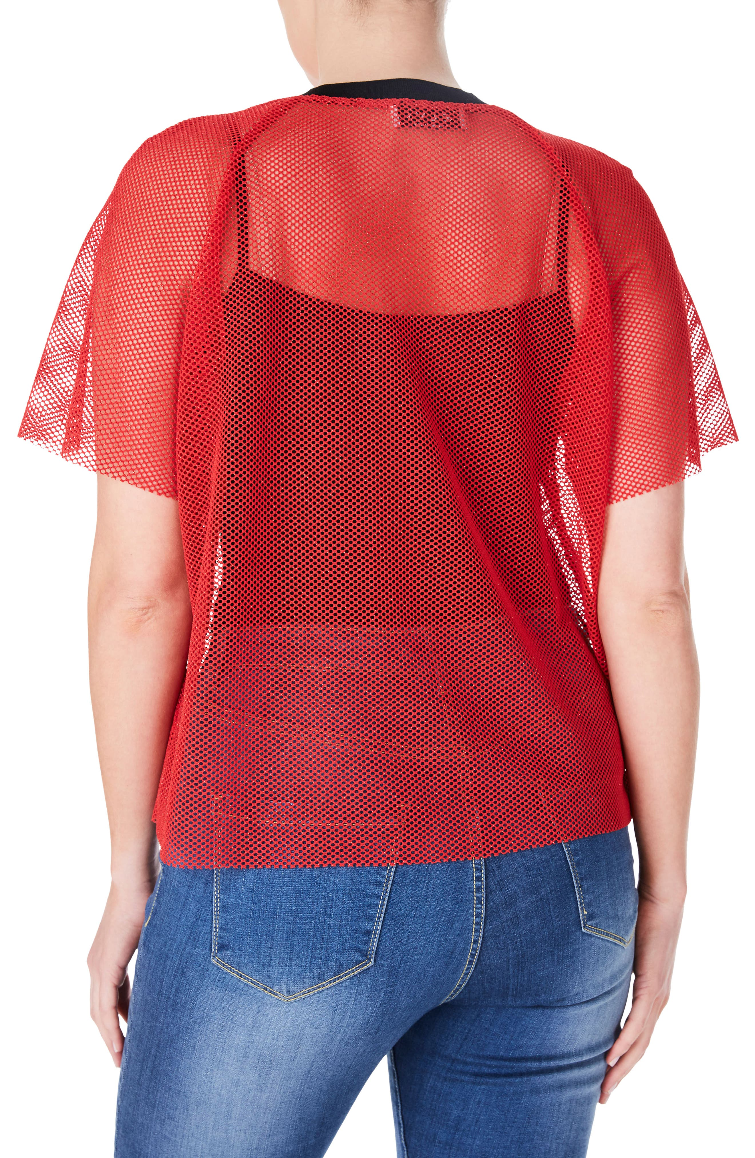 Fishnet Zip Front Top,                             Alternate thumbnail 2, color,                             Red