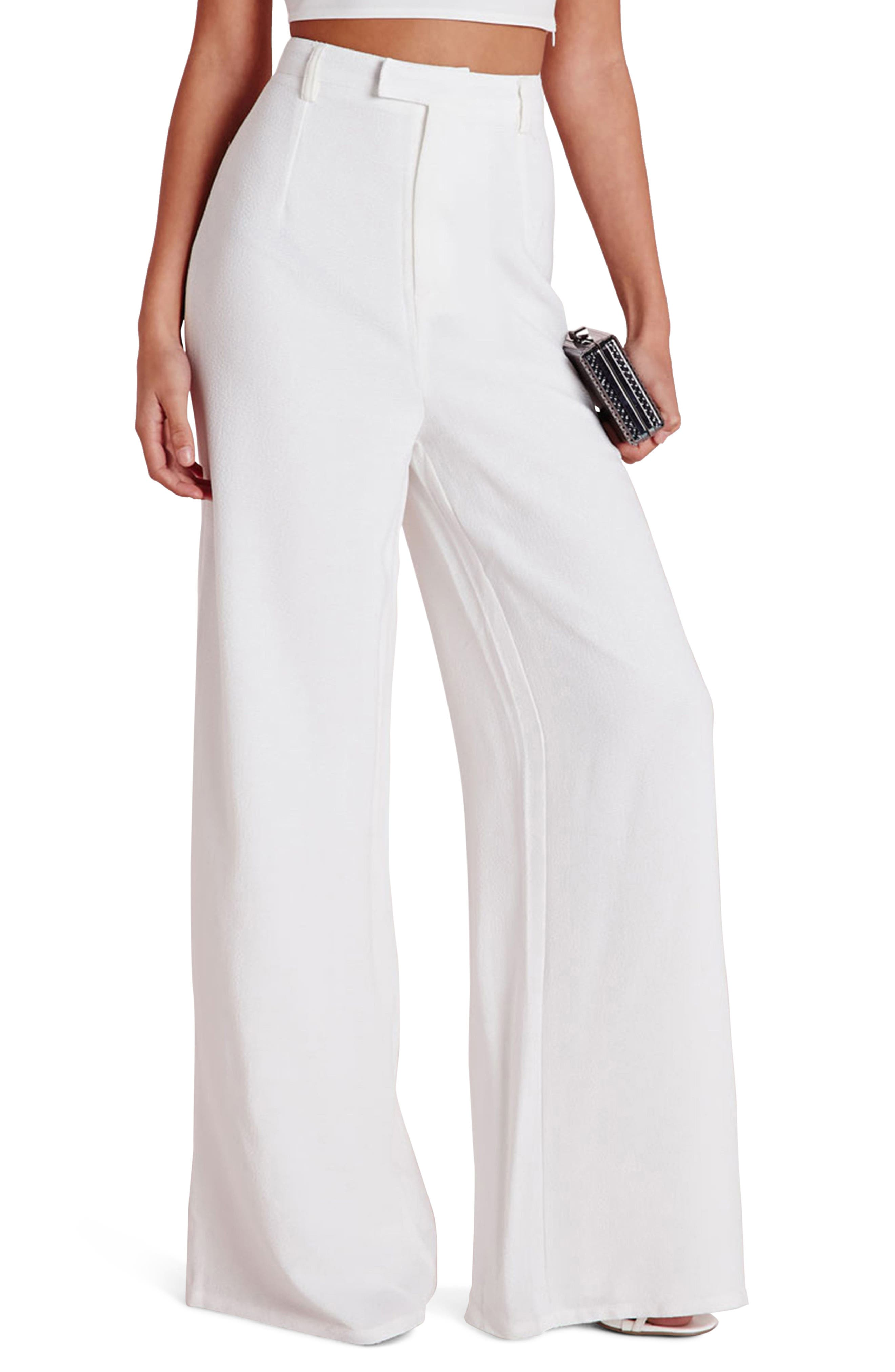 High Waist Wide Leg Crepe Trousers,                         Main,                         color, White