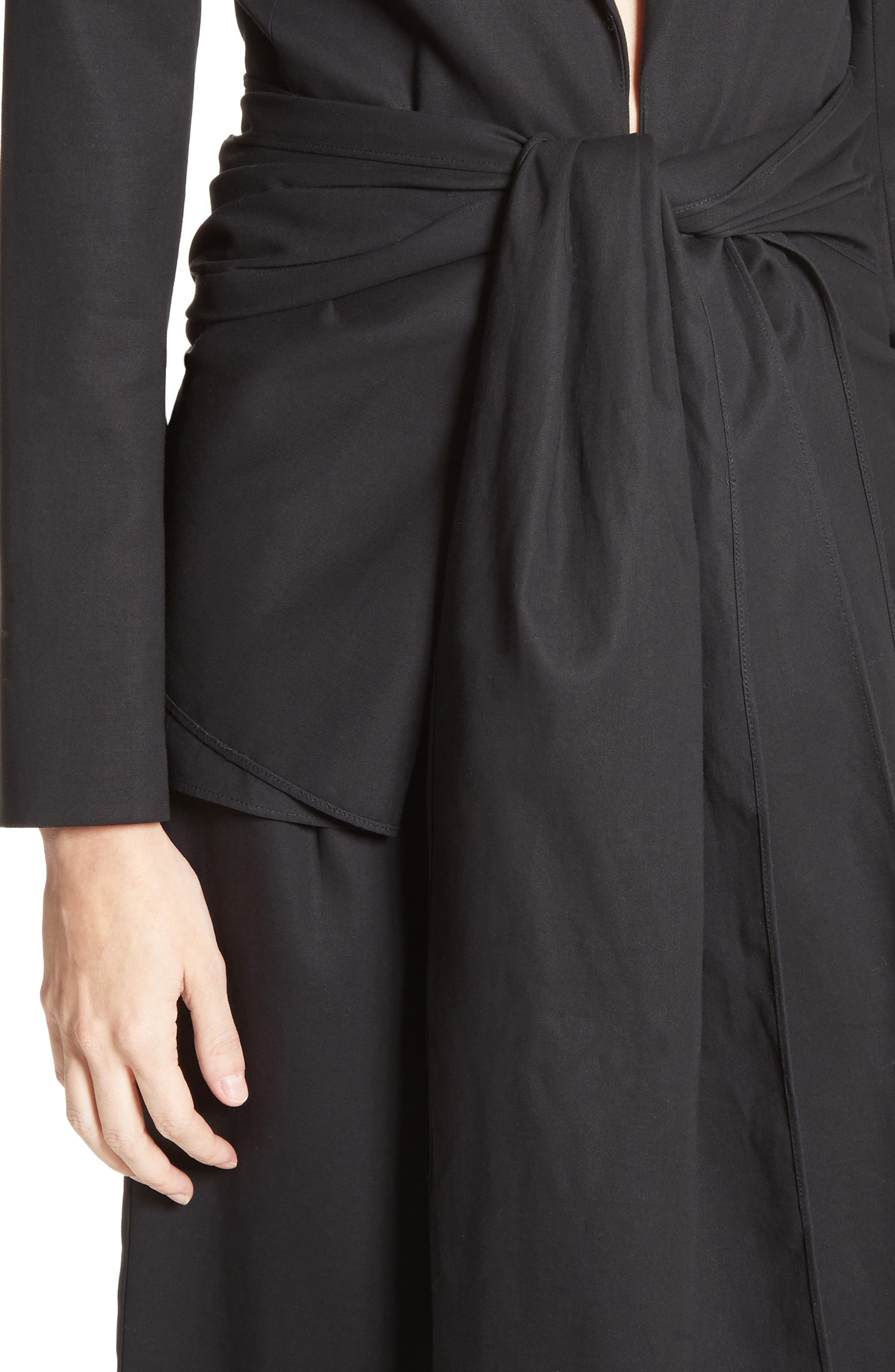 Cotton Gabardine Wrap Blazer,                             Alternate thumbnail 6, color,                             Black