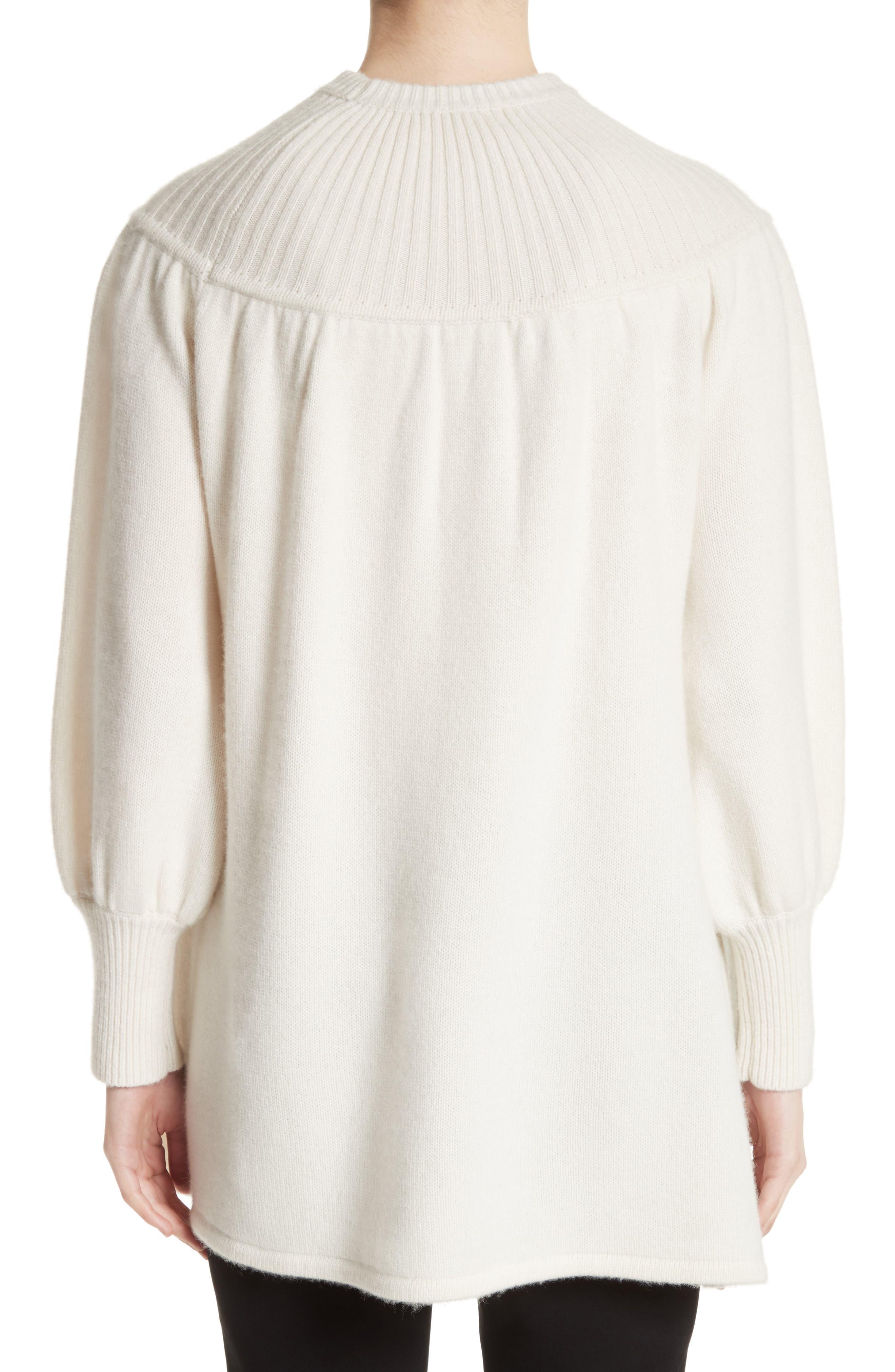 Rib Knit Cashmere Tunic Sweater,                             Alternate thumbnail 2, color,                             Ivory