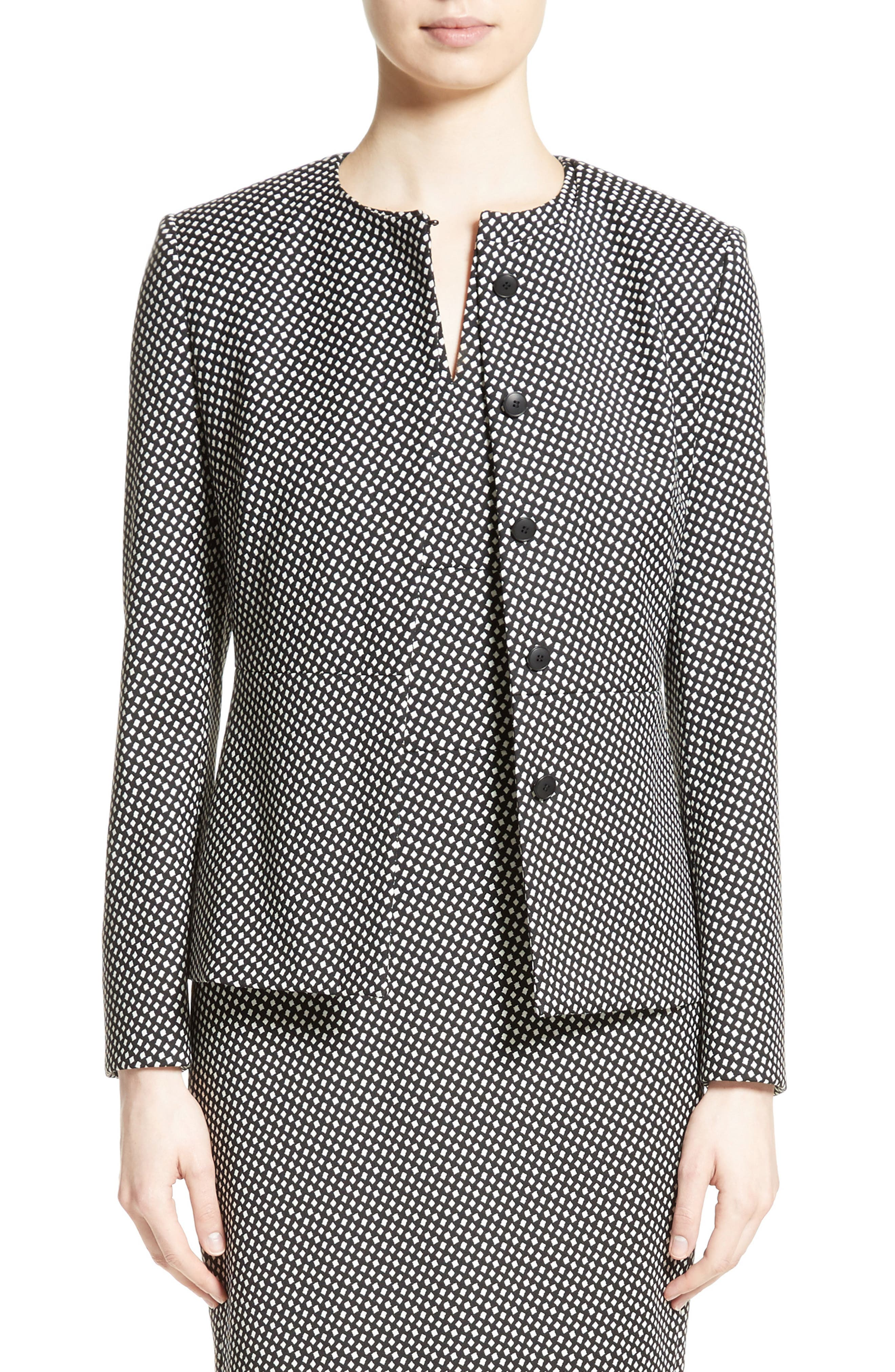 Ajaccio Wool Blend Jacquard Jacket,                         Main,                         color, Black