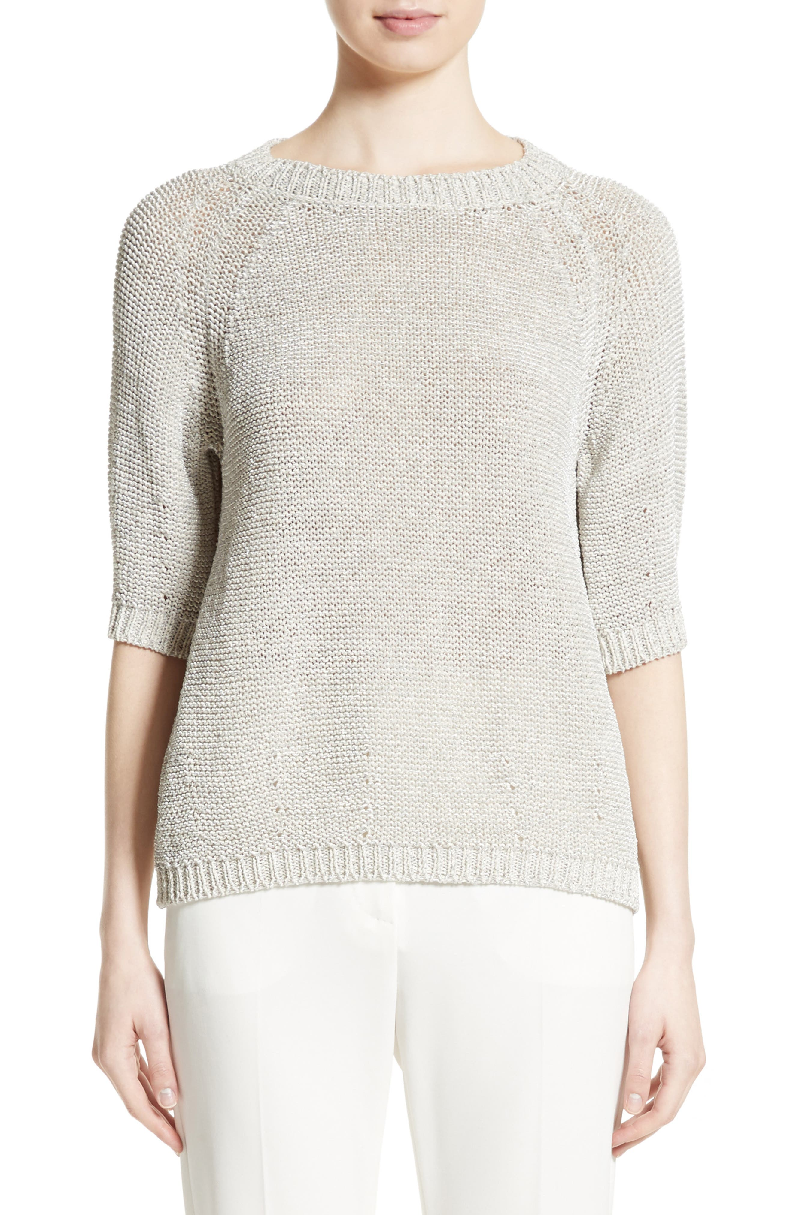 Cotton Blend Sweater,                         Main,                         color, White