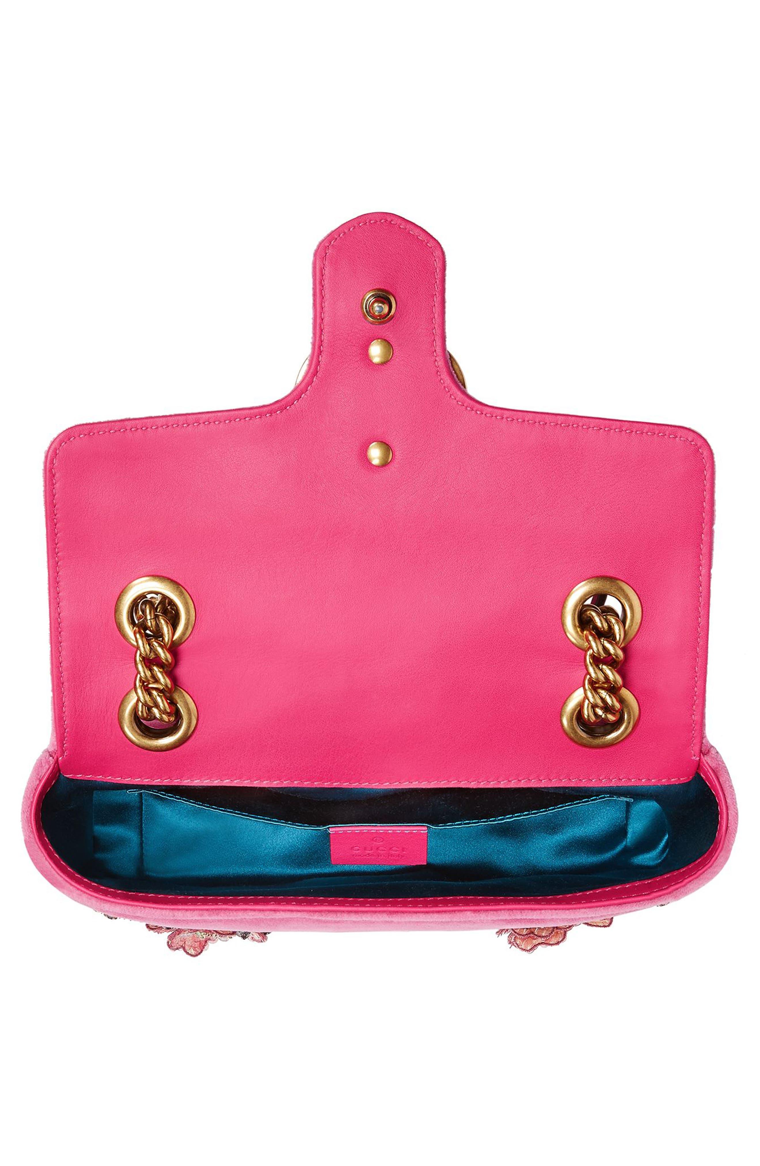 Mini GG Marmont Matelassé Velvet Shoulder Bag,                             Alternate thumbnail 3, color,                             Raspberry