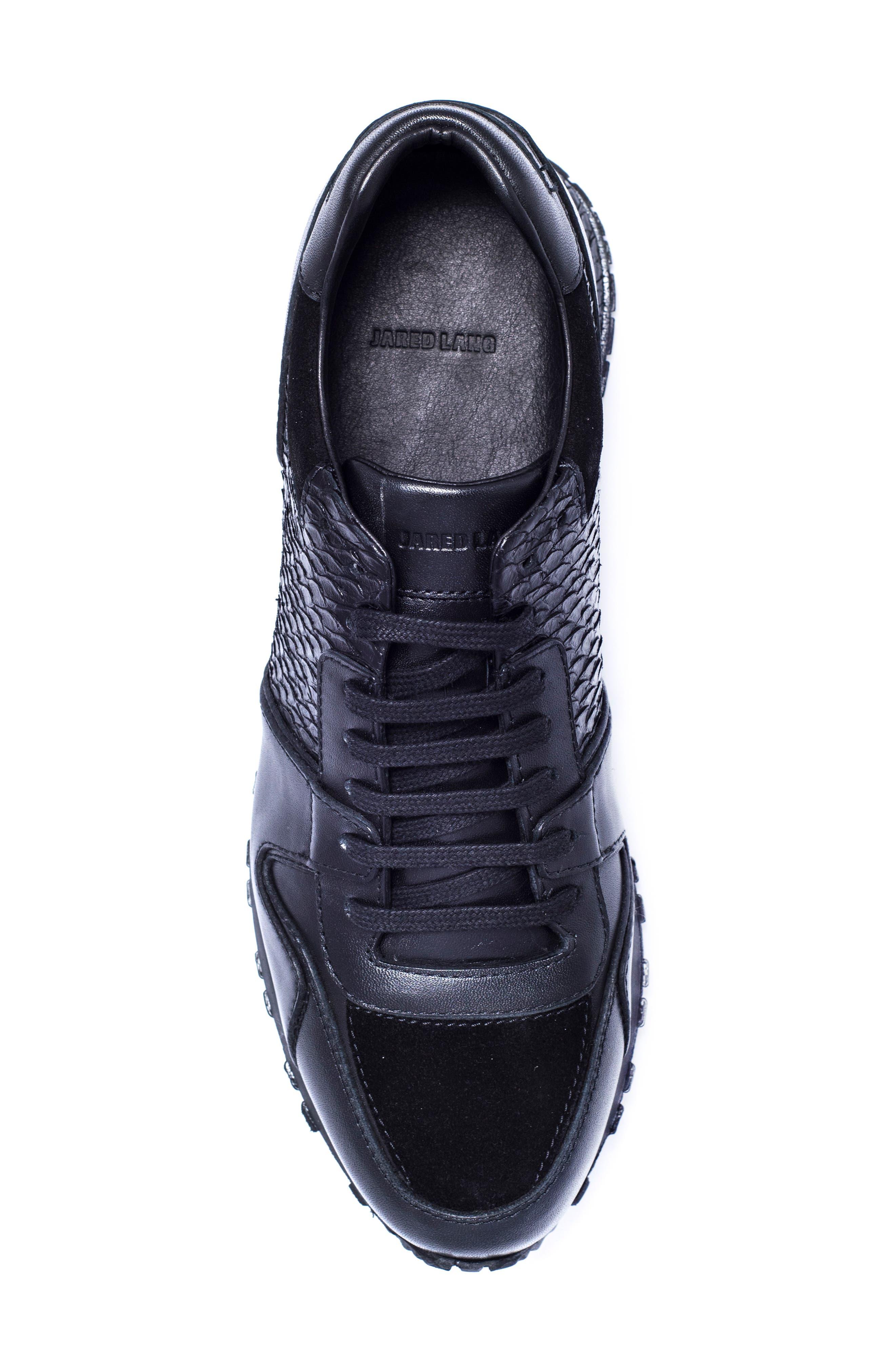 Textured Sneaker,                             Alternate thumbnail 3, color,                             Black