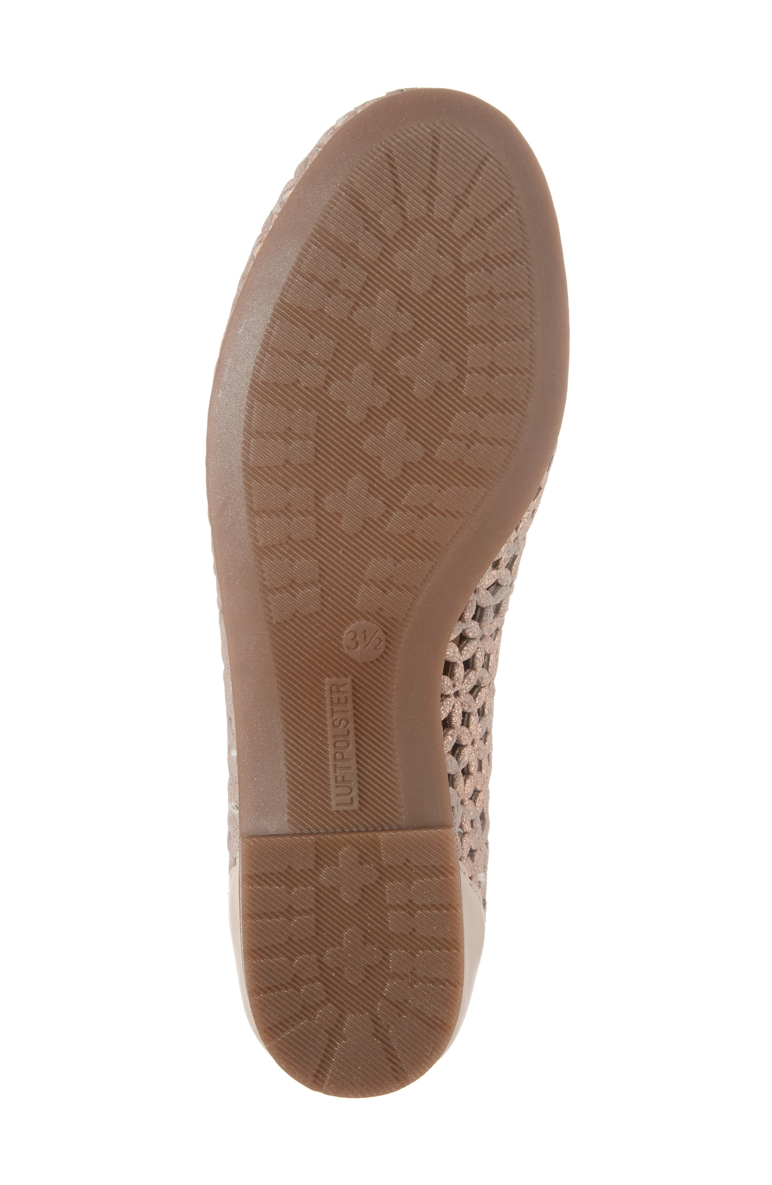 Stephanie Perforated Ballet Flat,                             Alternate thumbnail 6, color,                             Rose Gold Leather