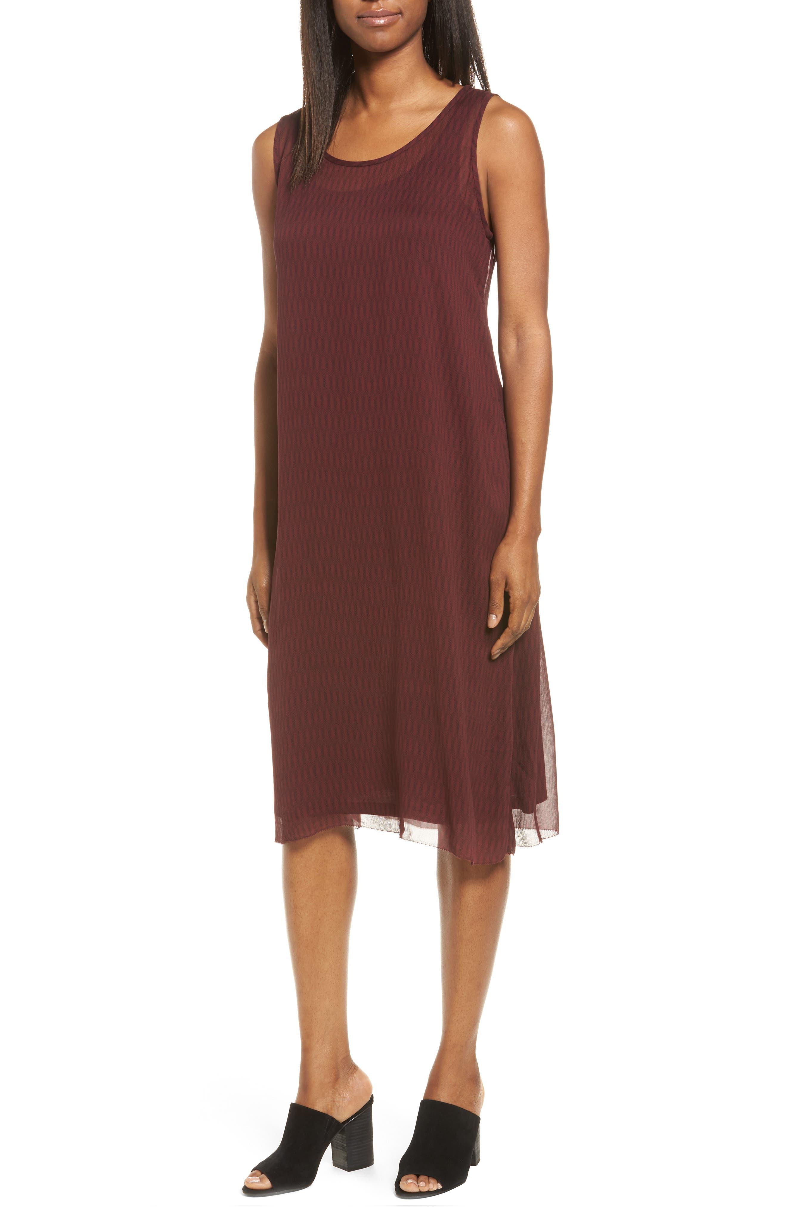 Eileen Fisher Print Shift Dress with Slip (Regular & Petite)