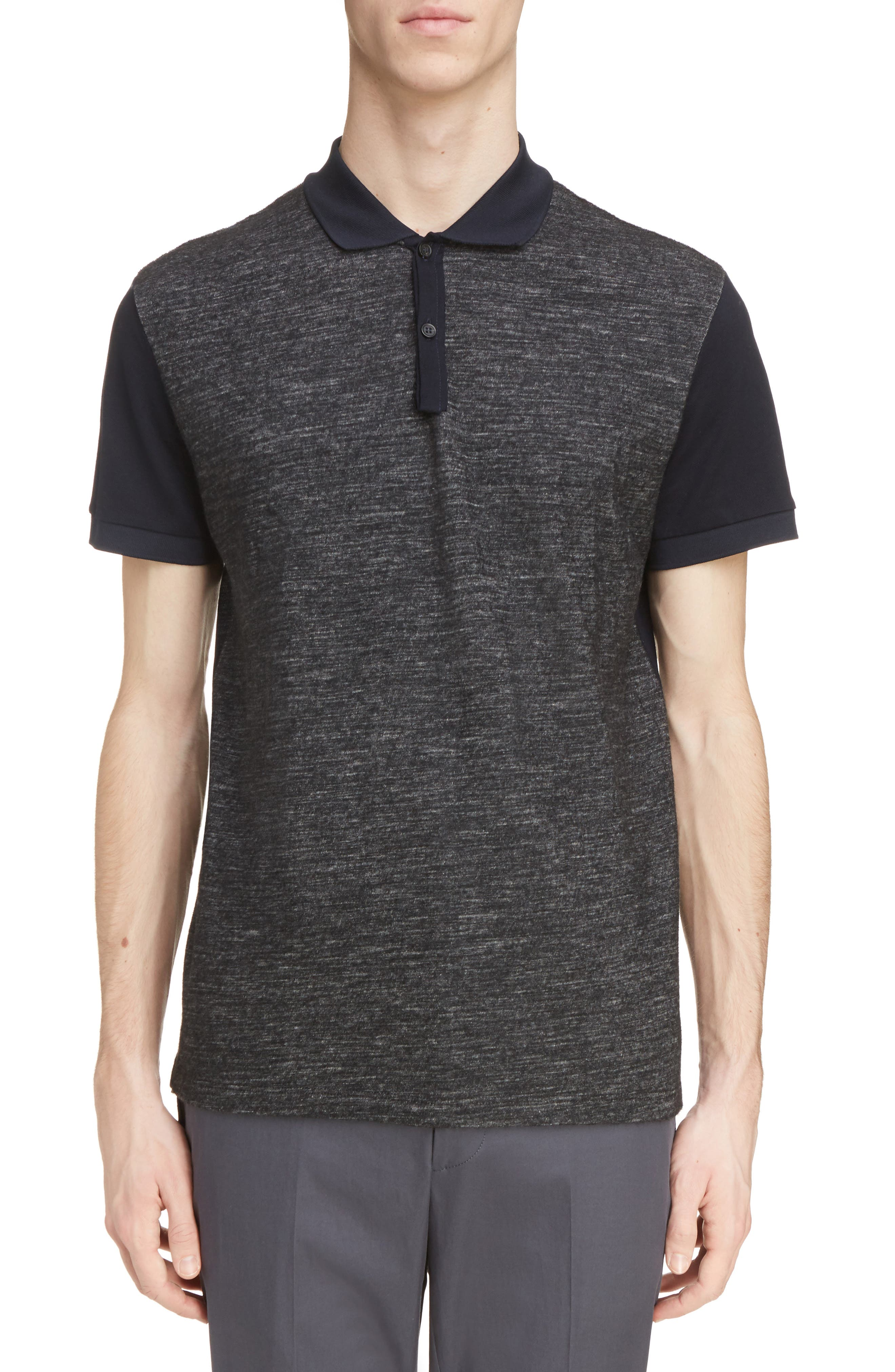 Wool Blend & Cotton Polo,                         Main,                         color, Navy