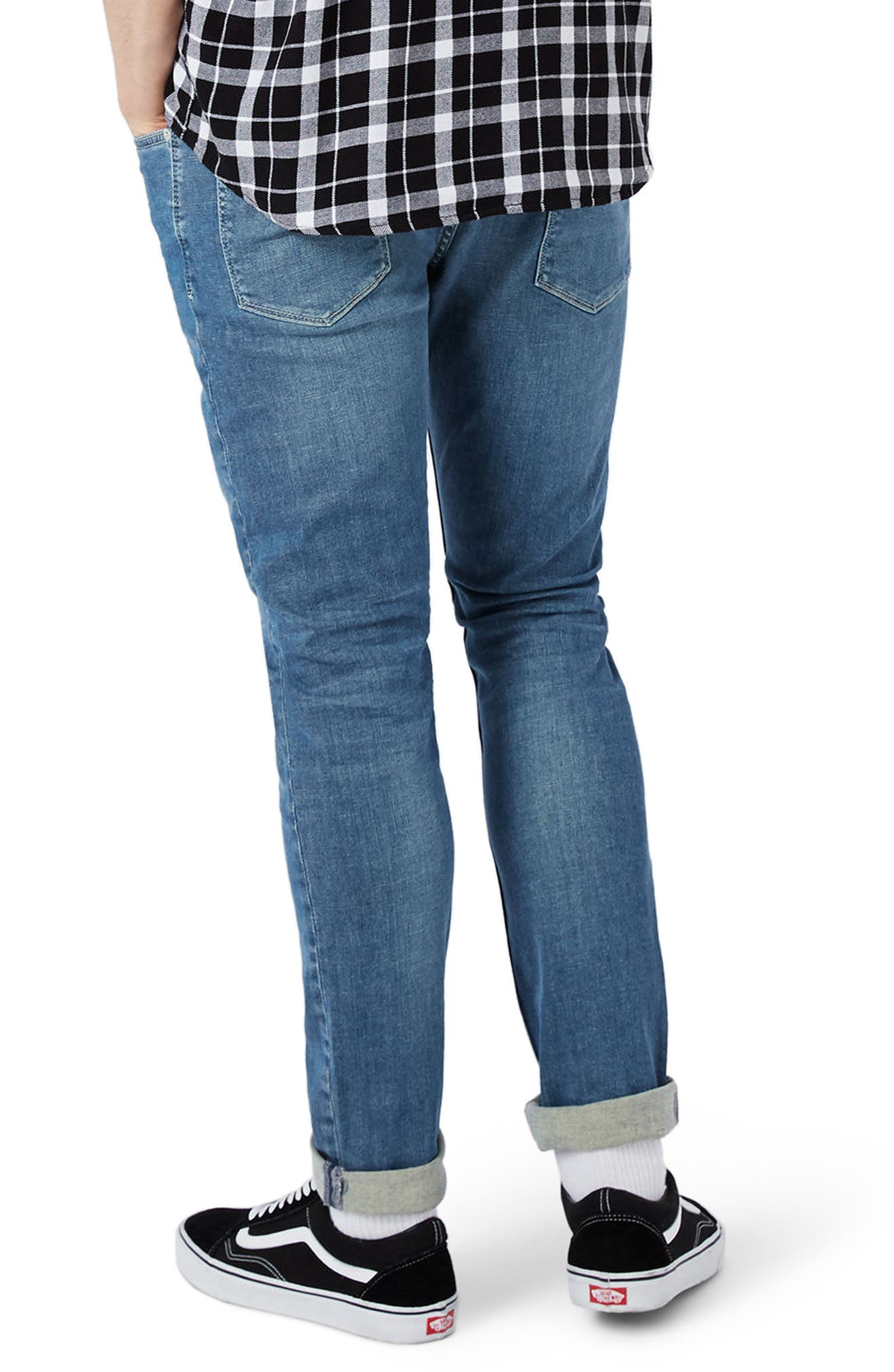 Stretch Skinny Fit Jeans,                             Alternate thumbnail 3, color,                             Mid Blue