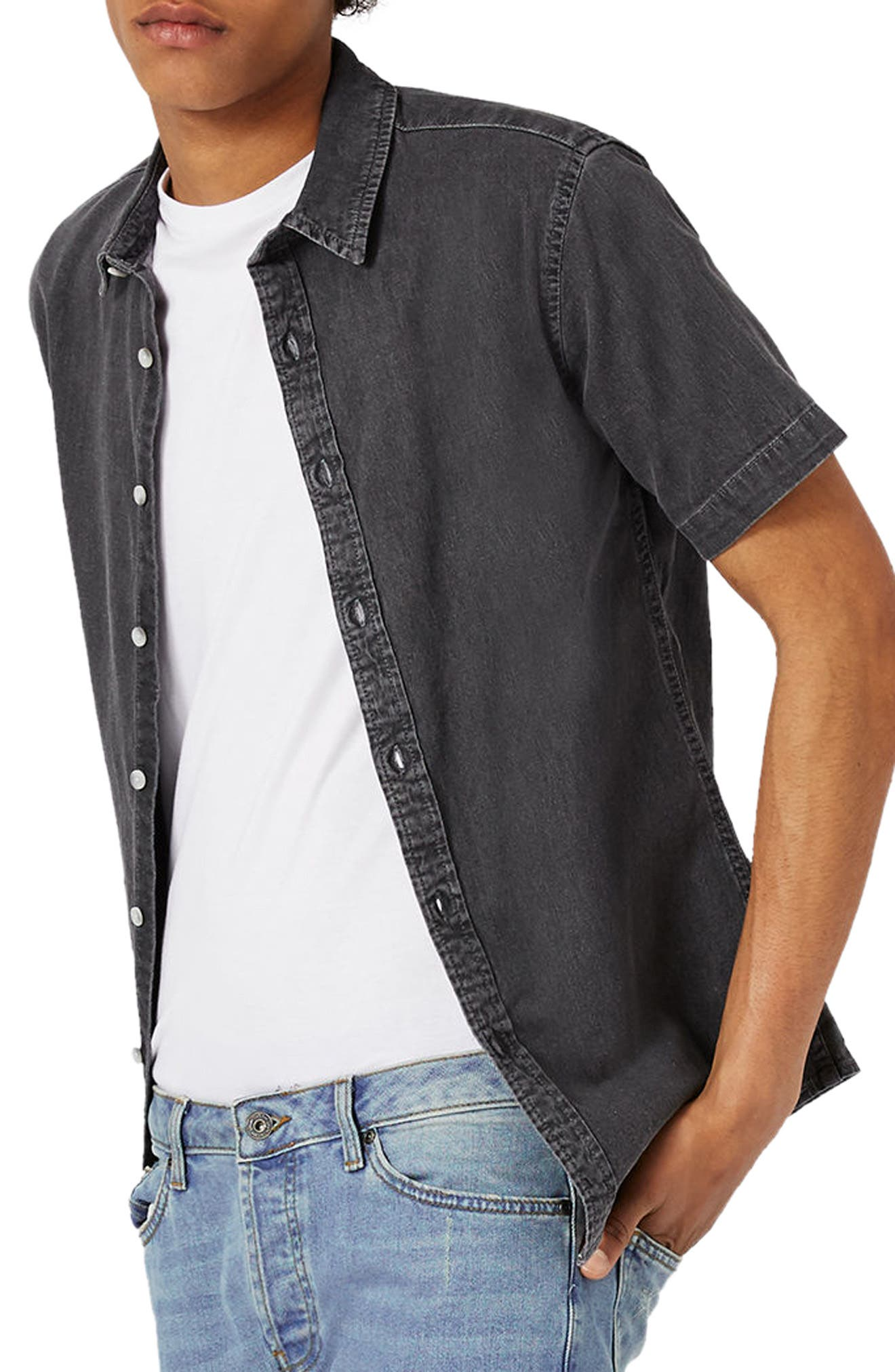 Main Image - Topman Muscle Fit Denim Shirt