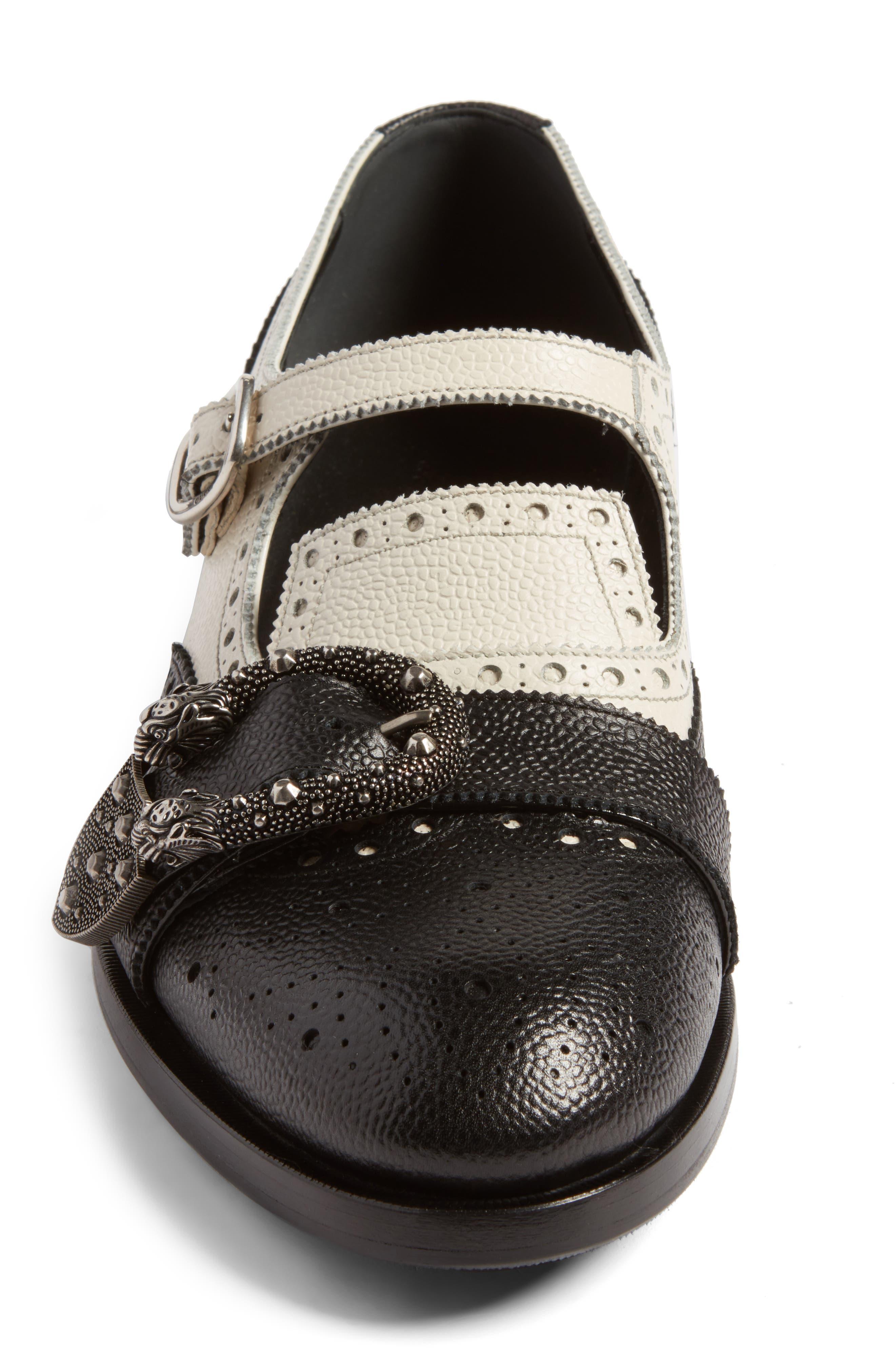 Queercore Brogue Monk Shoe,                             Alternate thumbnail 4, color,                             Black White Multi