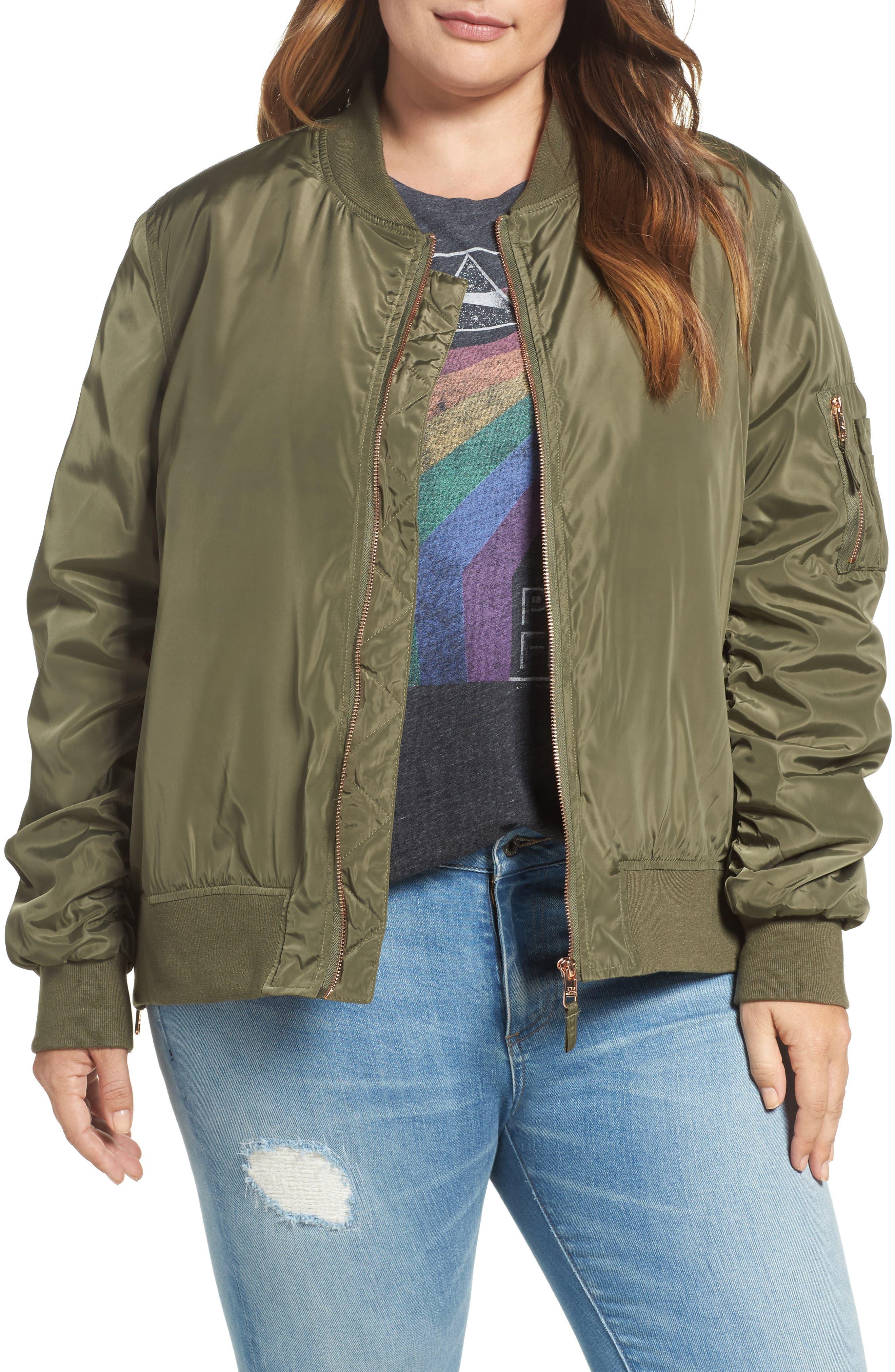 Side Zip Bomber Jacket,                         Main,                         color, Light Olive