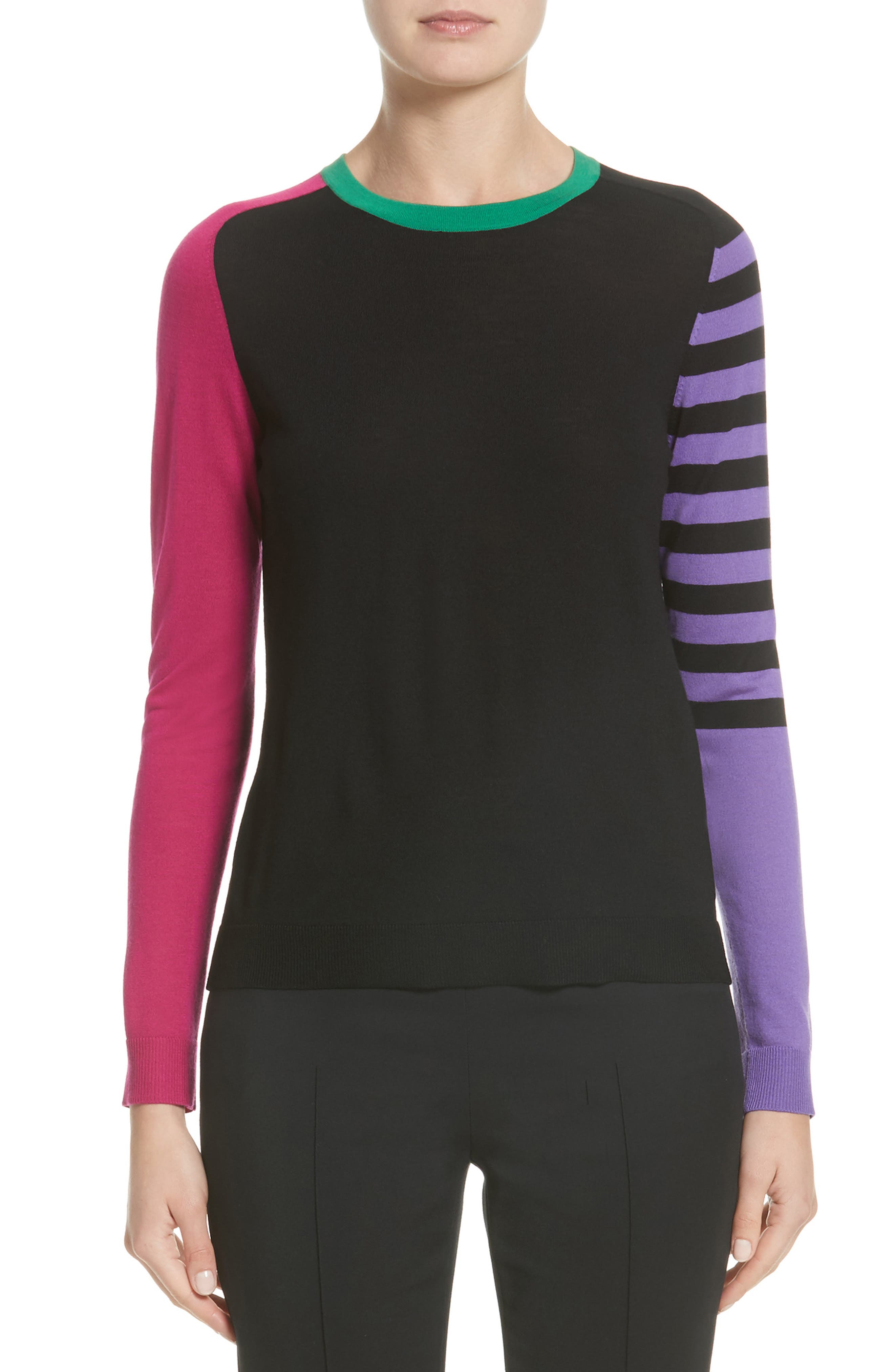 Akris punto Tricolor Knit Wool Sweater (Nordstrom Exclusive)