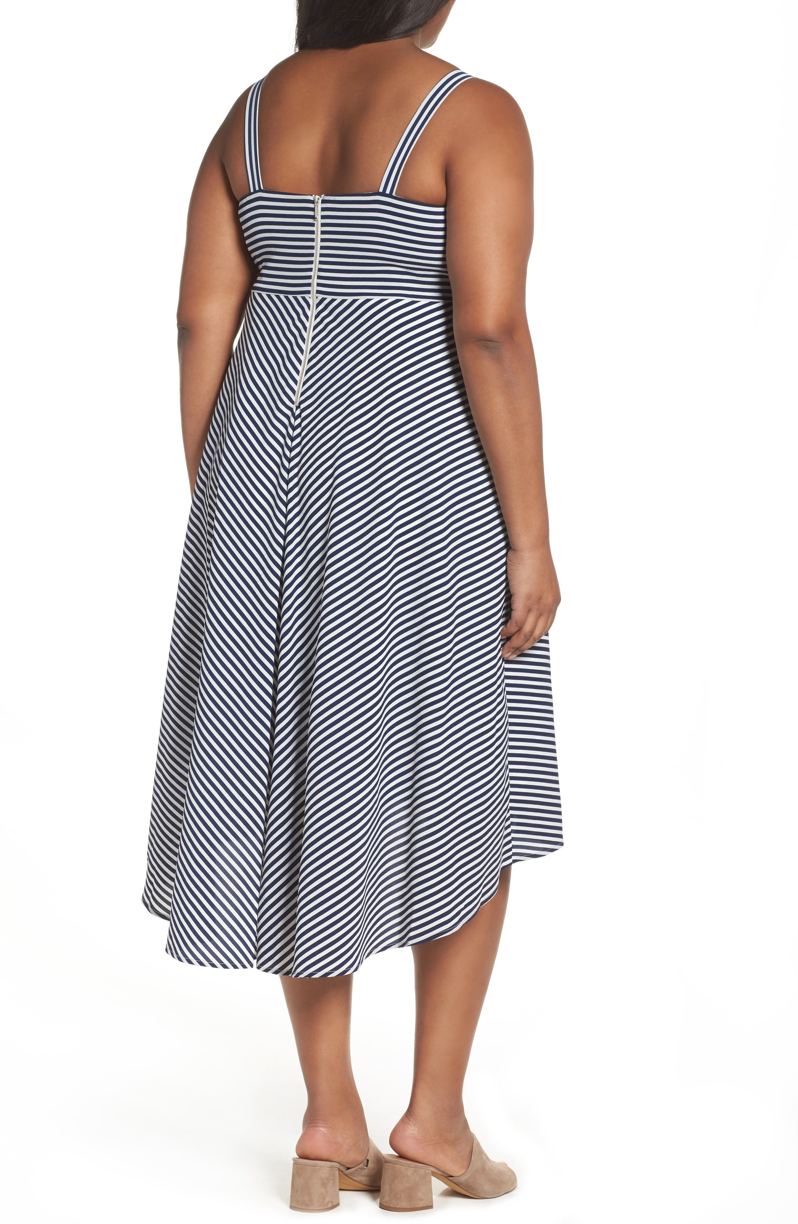 Stripe Midi Sundress,                             Alternate thumbnail 2, color,                             Navy/ Cream