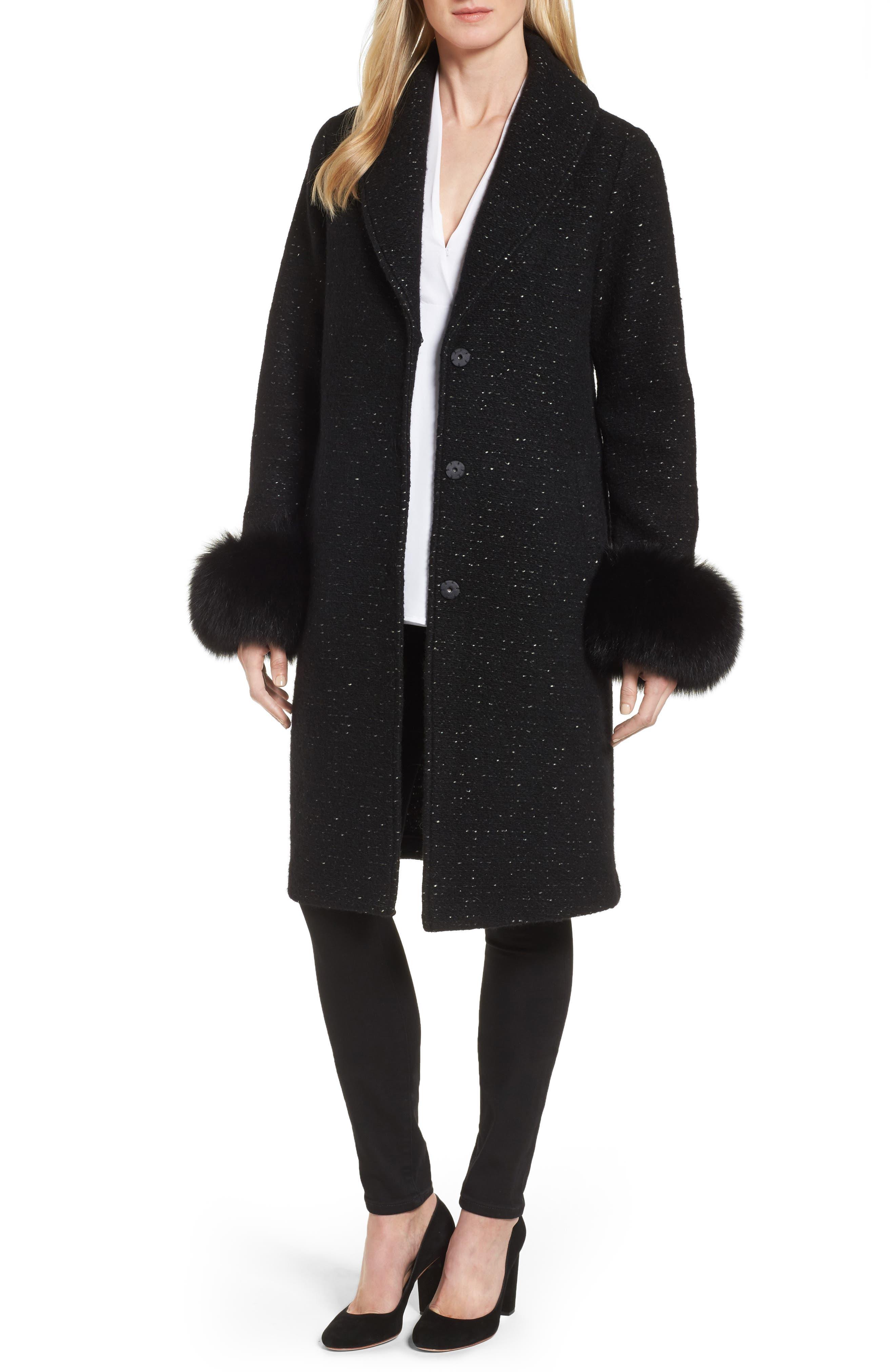 Grace Genuine Fox Fur Trim Knit Wool Blend Long Coat,                         Main,                         color, Black