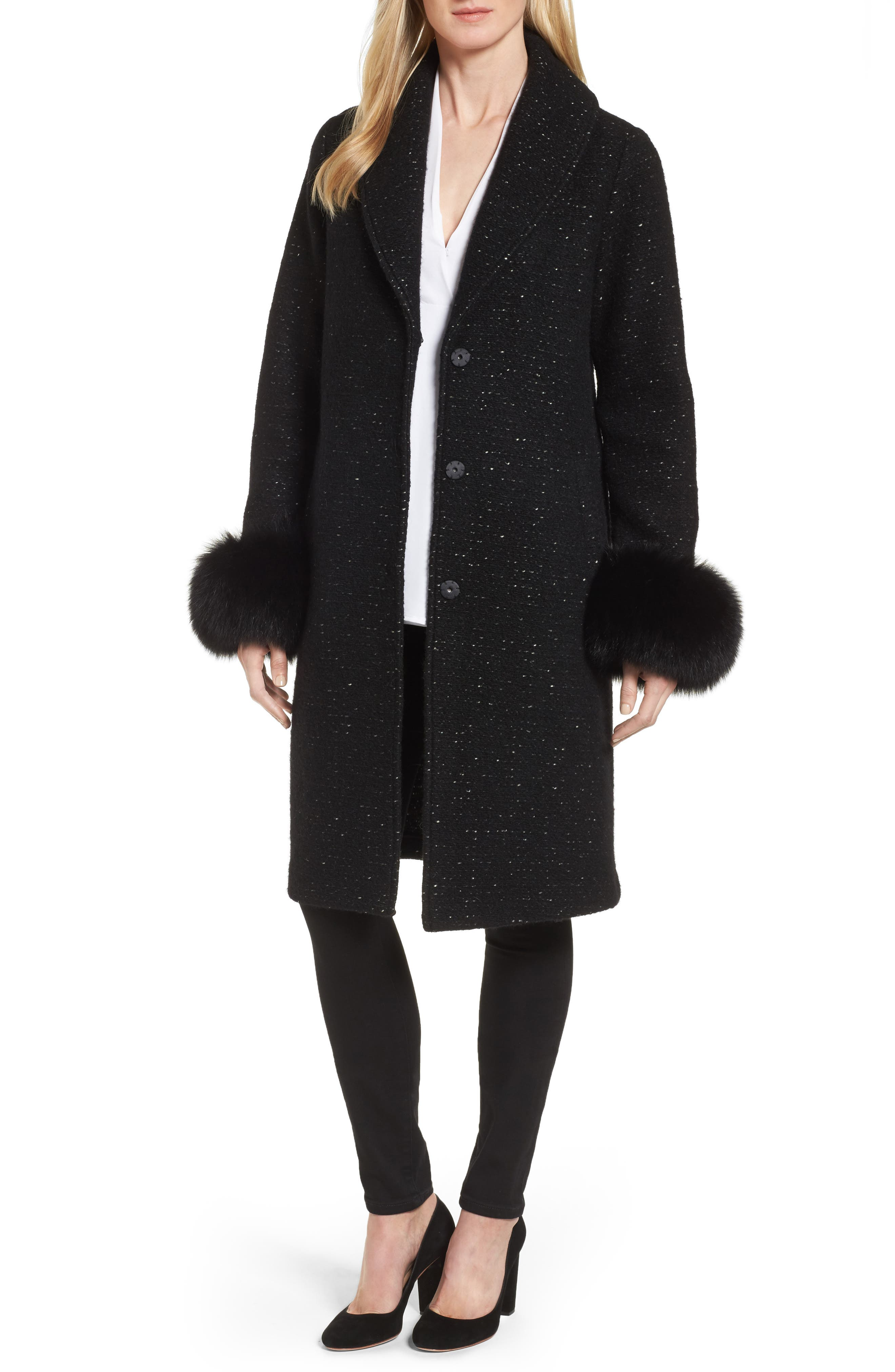 Elie Tahari Grace Genuine Fox Fur Trim Knit Wool Blend Long Coat