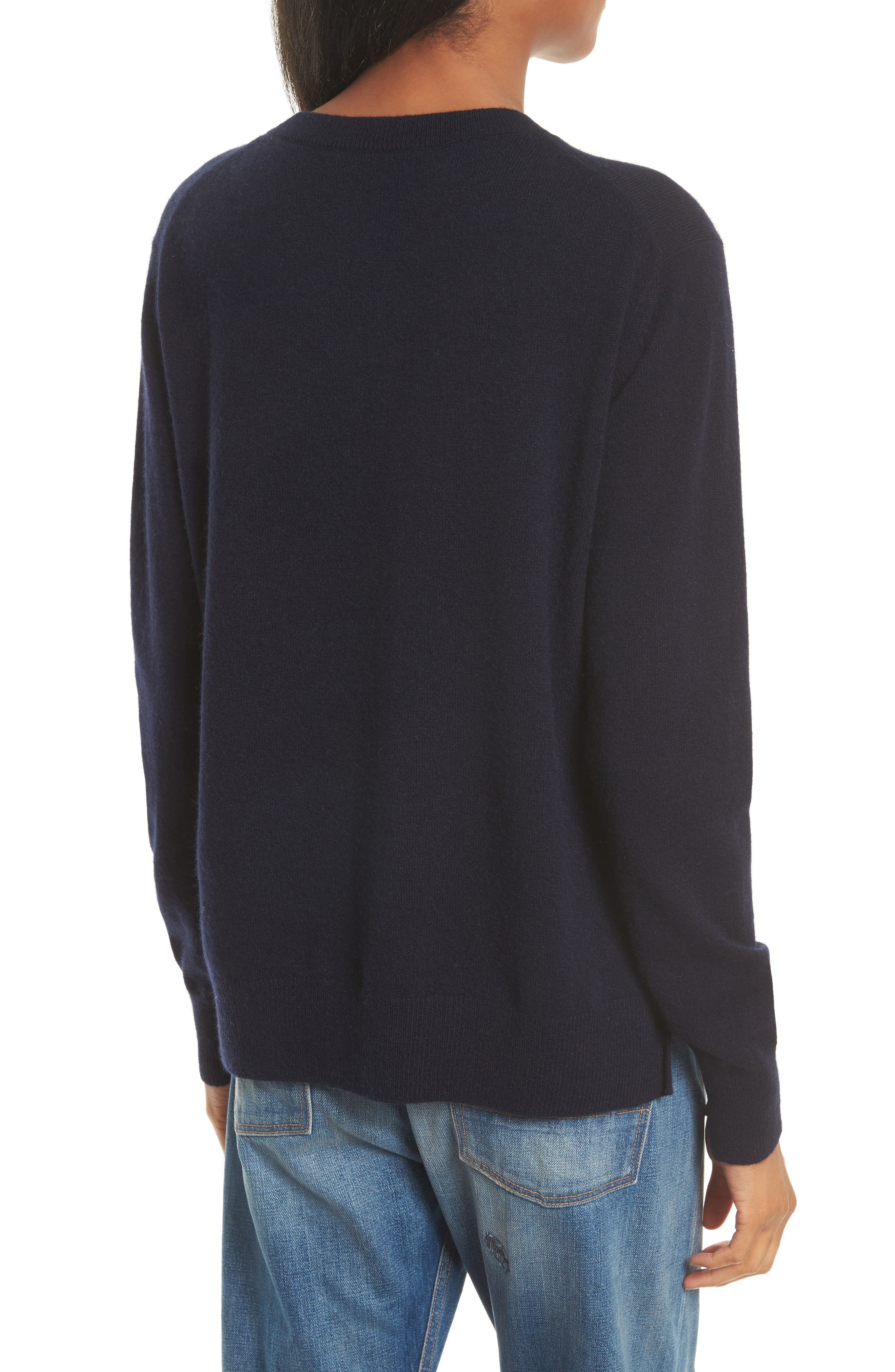 Cashmere Step Hem Sweater,                             Alternate thumbnail 2, color,                             Coastal