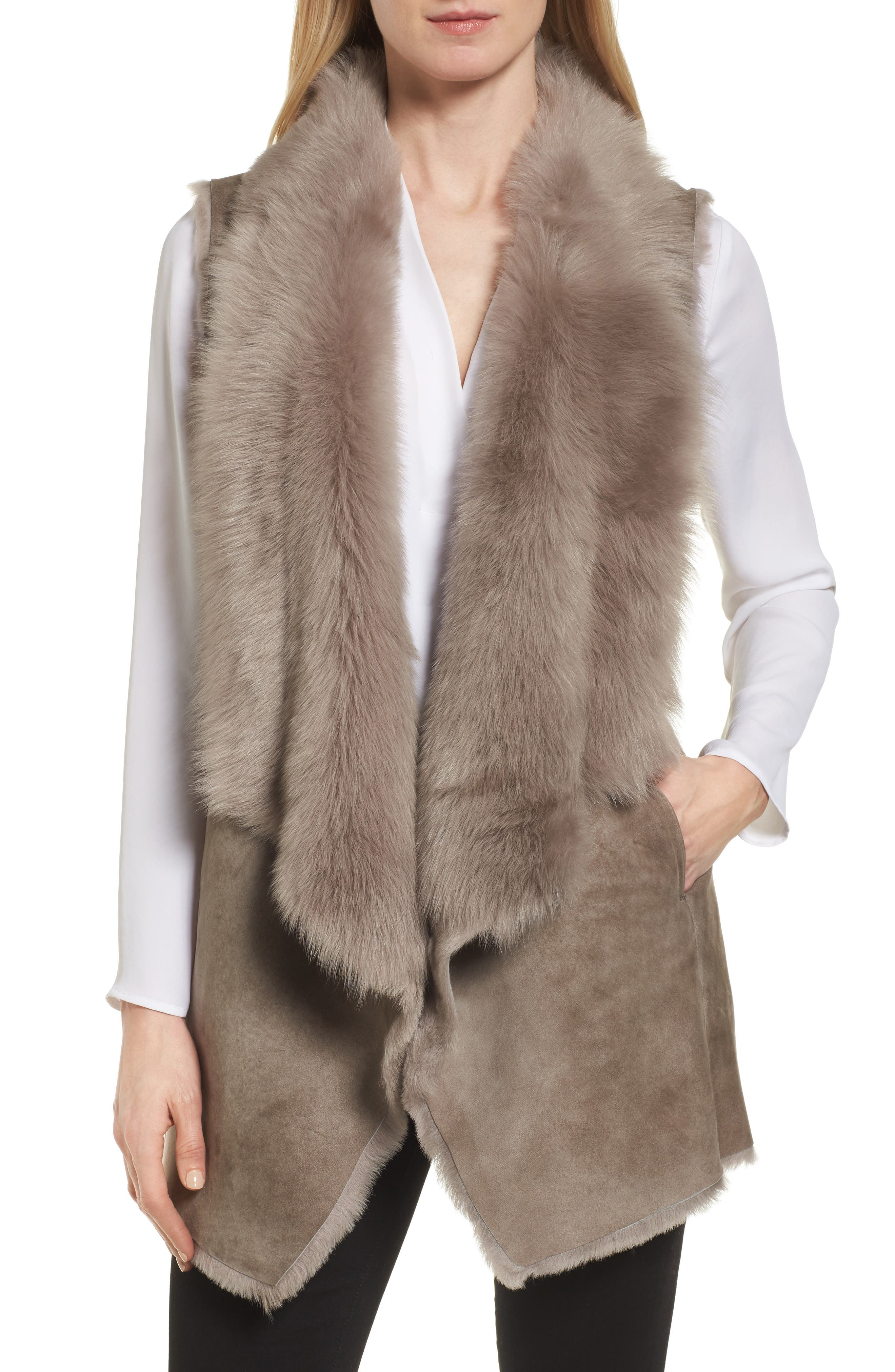 HISO Angie Genuine Toscana Shearling Drape Front Vest