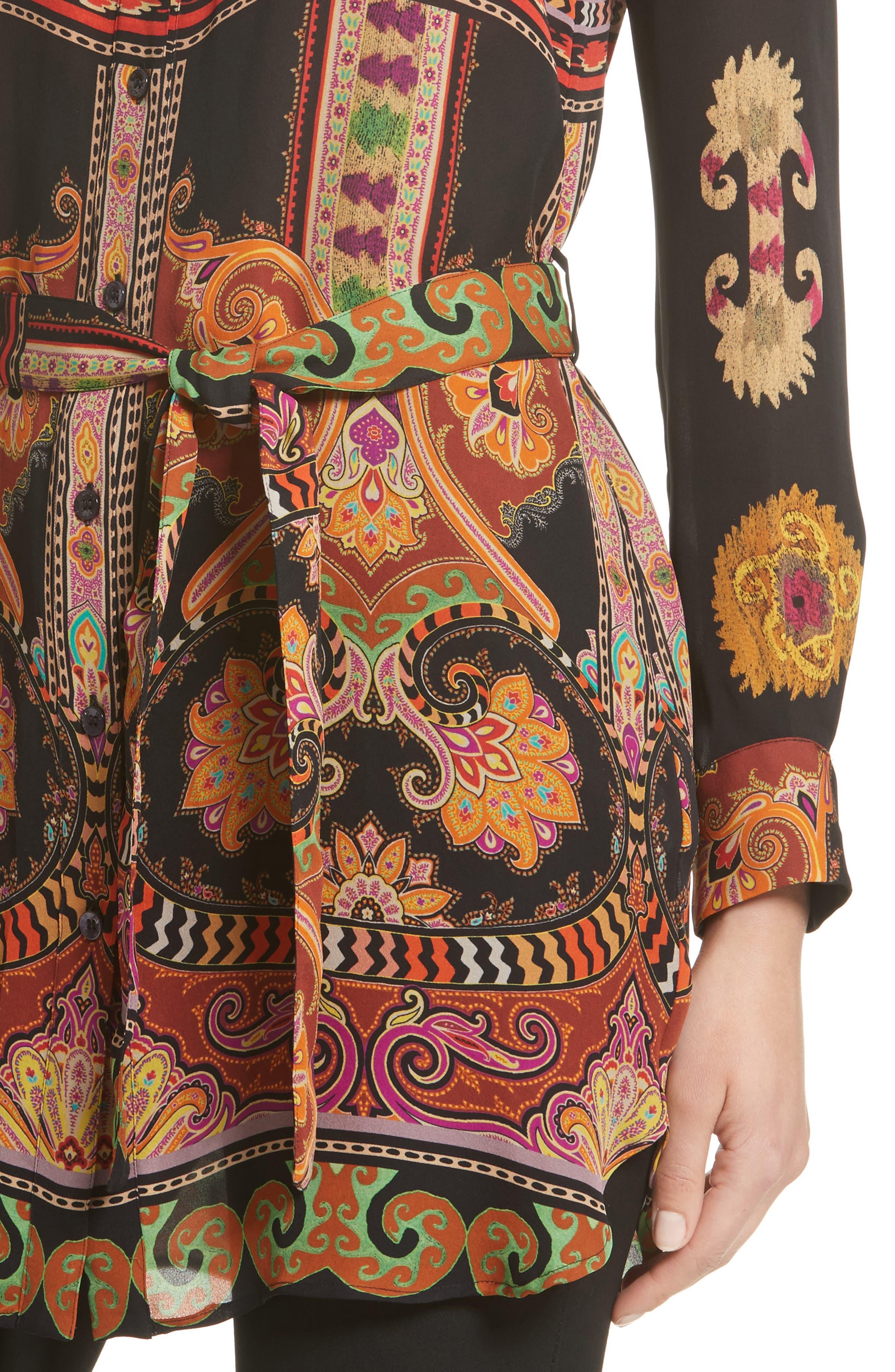Suzani Print Silk Tunic,                             Alternate thumbnail 6, color,                             Black