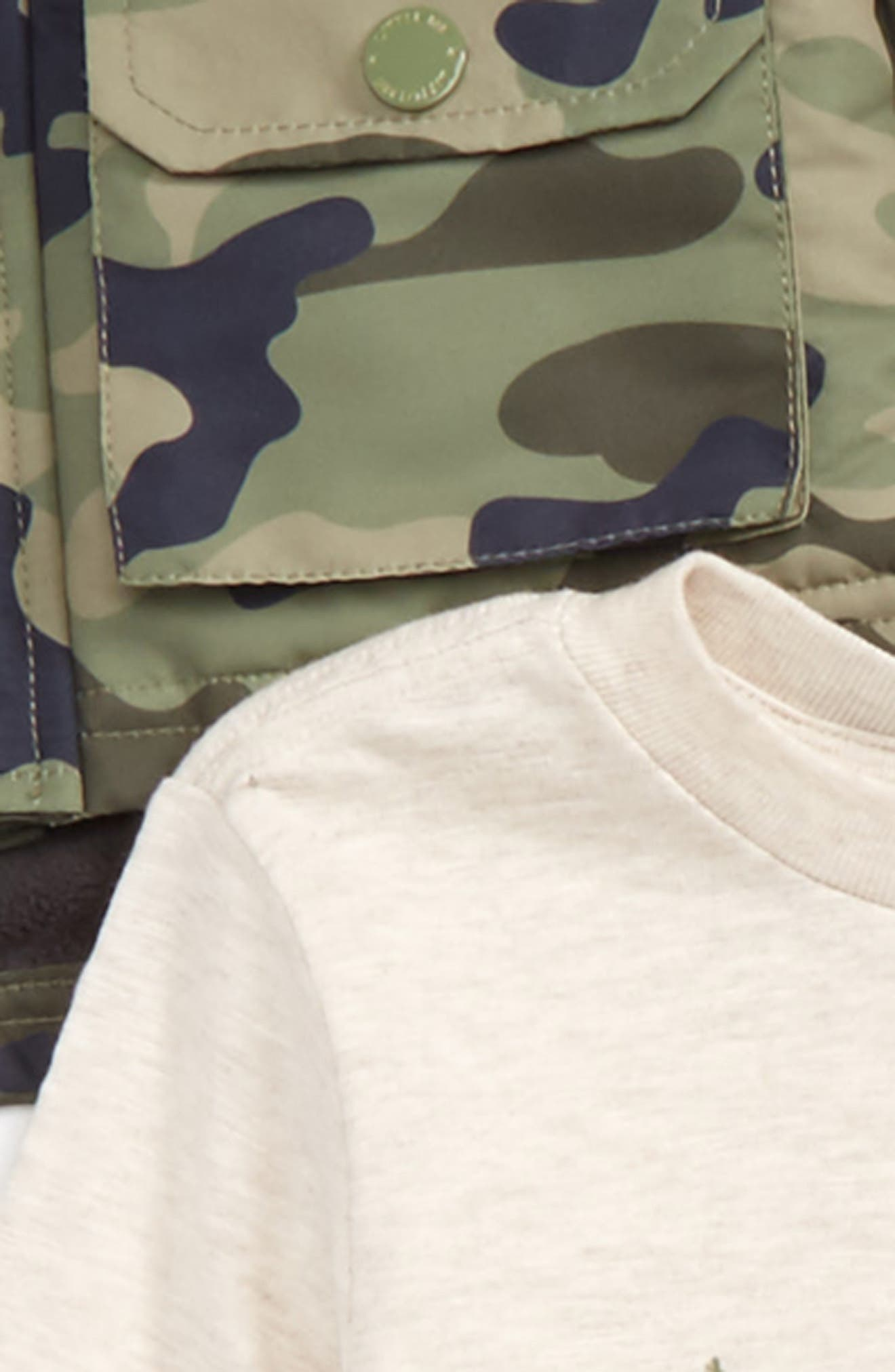 Alternate Image 2  - Little Me Camo Hooded Jacket, T-Shirt & Pants Set (Baby Boys)
