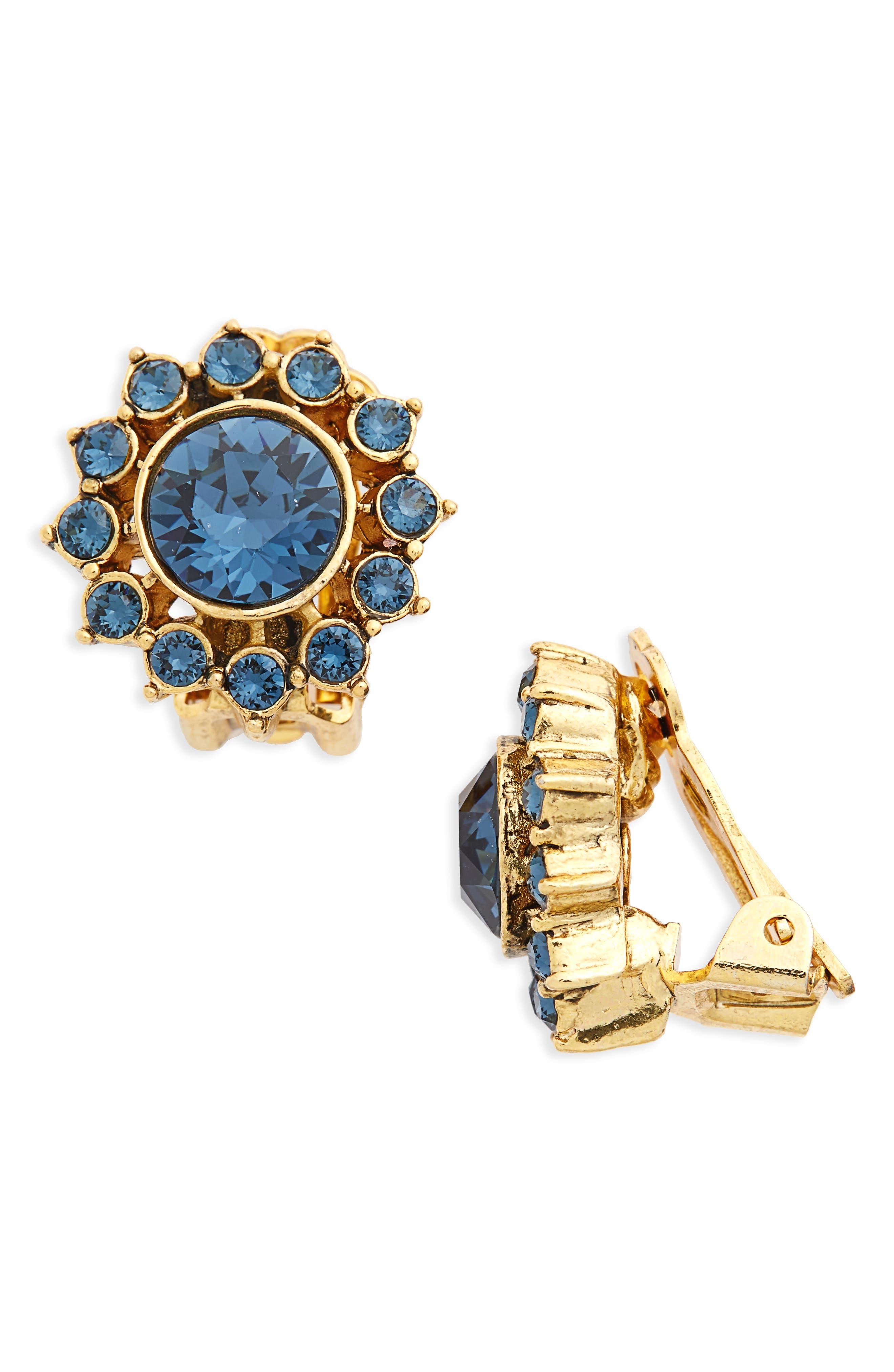Oscar de la Renta Crystal Starburst Clip Earrings