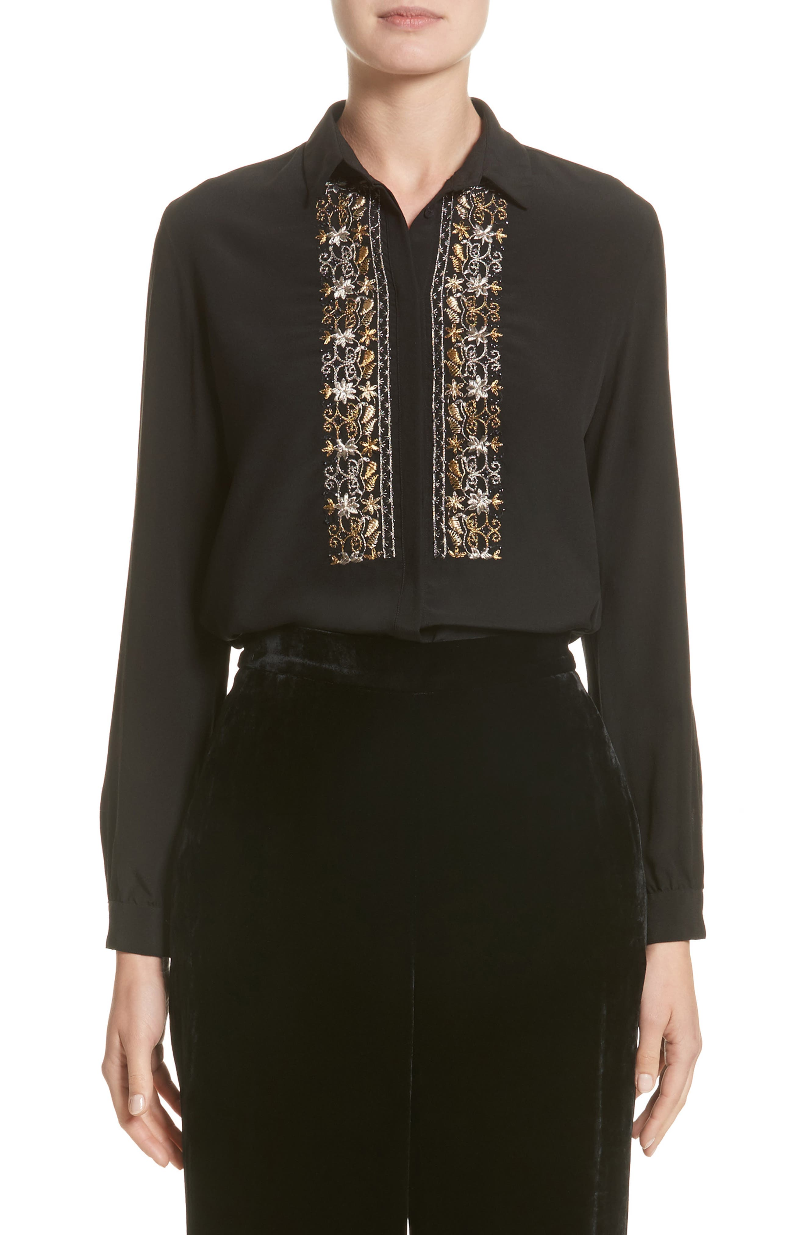 Etro Embroidered Bib Silk Blouse