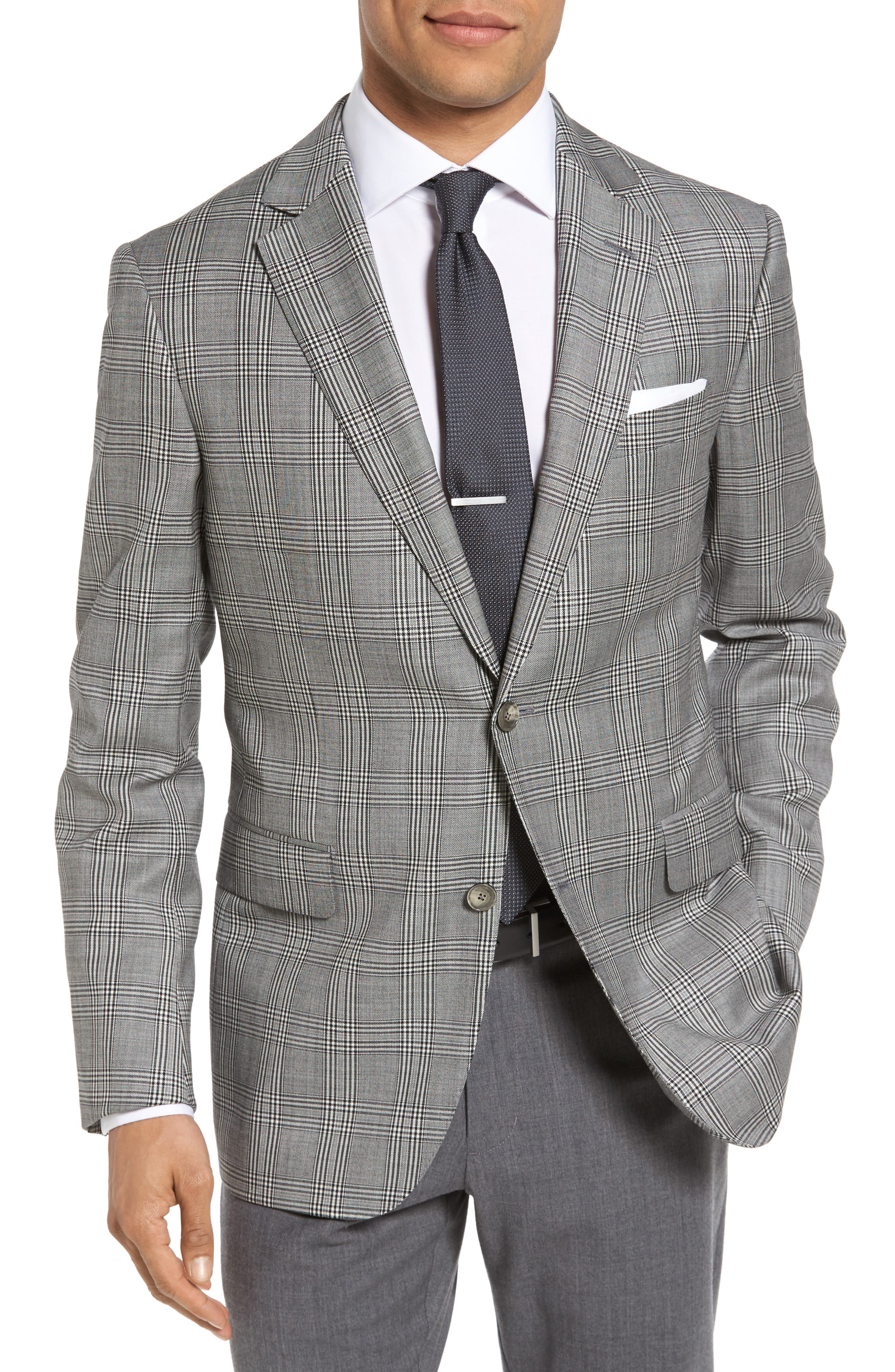 Classic Fit Plaid Wool Sport Coat,                         Main,                         color, Black