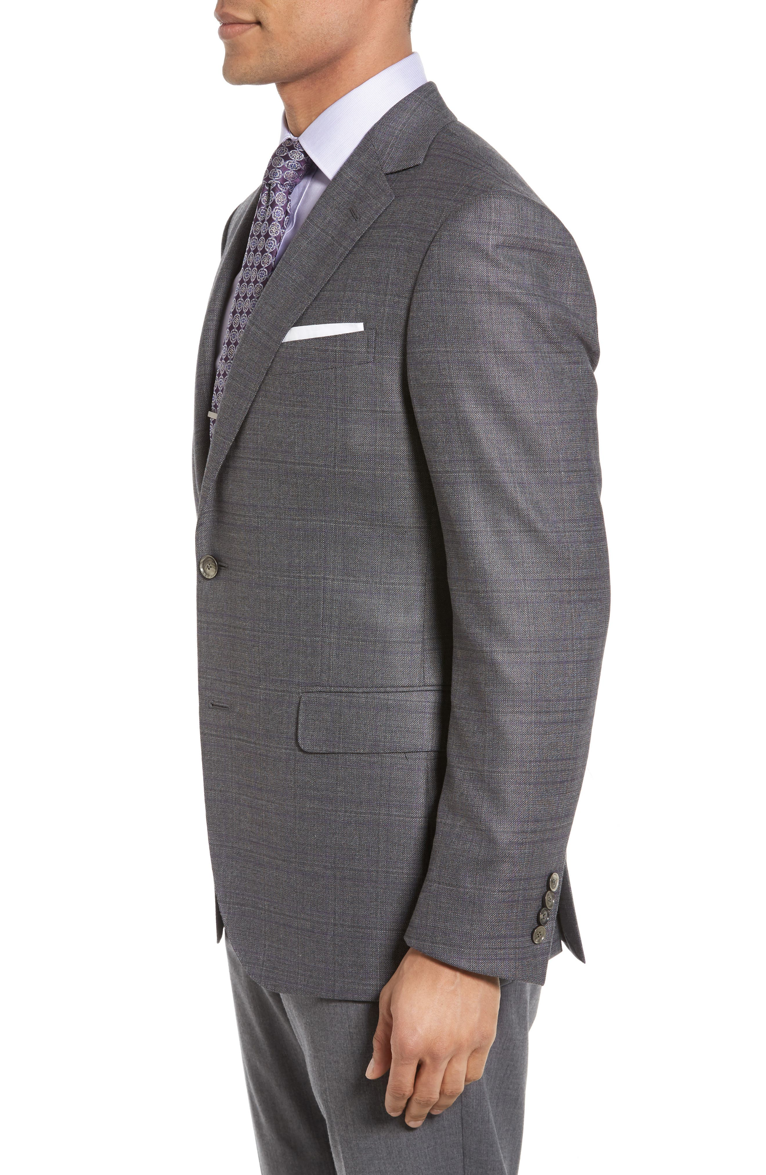Classic Fit Windowpane Wool Sport Coat,                             Alternate thumbnail 3, color,                             Grey
