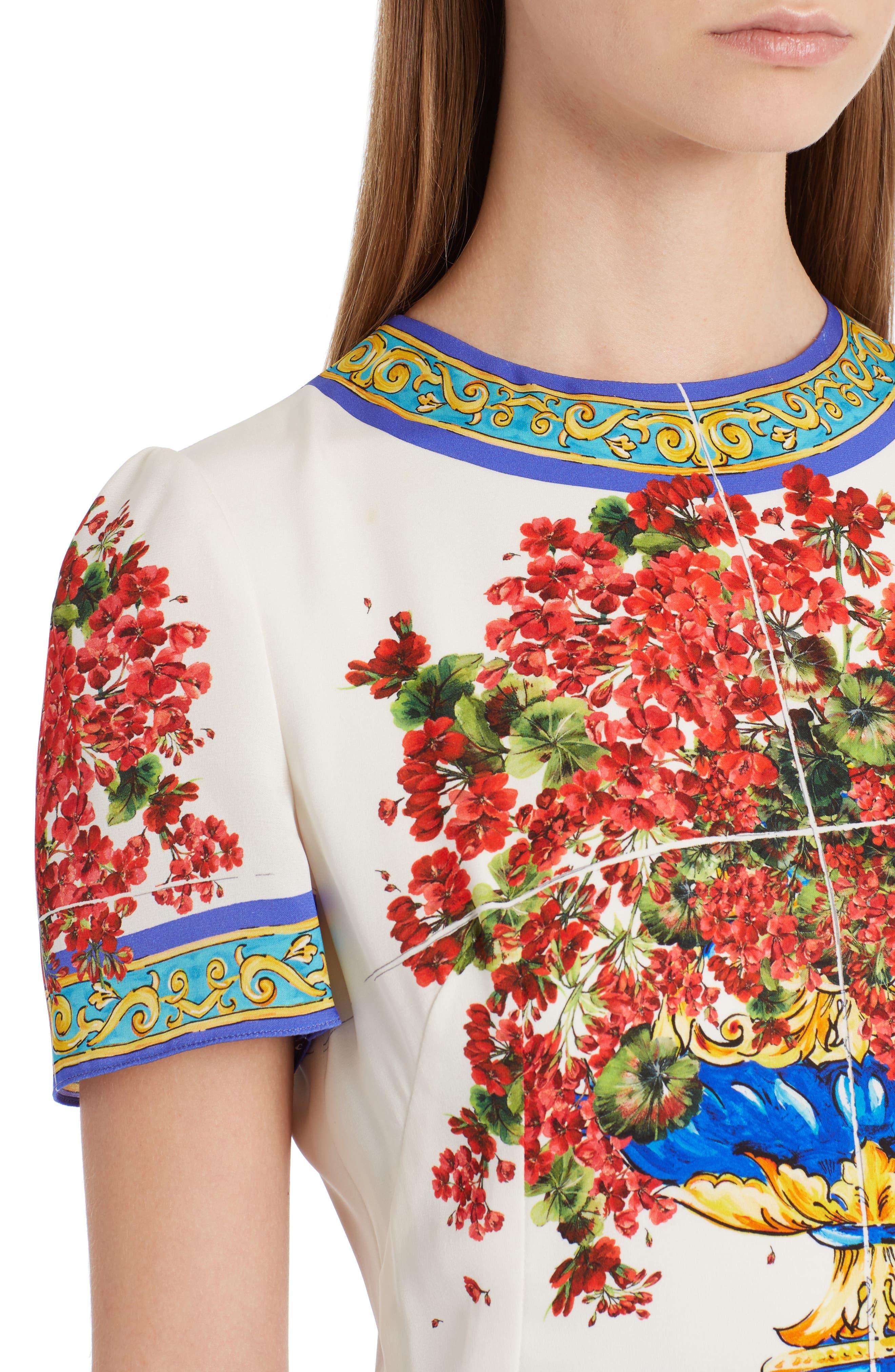 Alternate Image 5  - Dolce&Gabbana Print Silk Fit & Flare Dress
