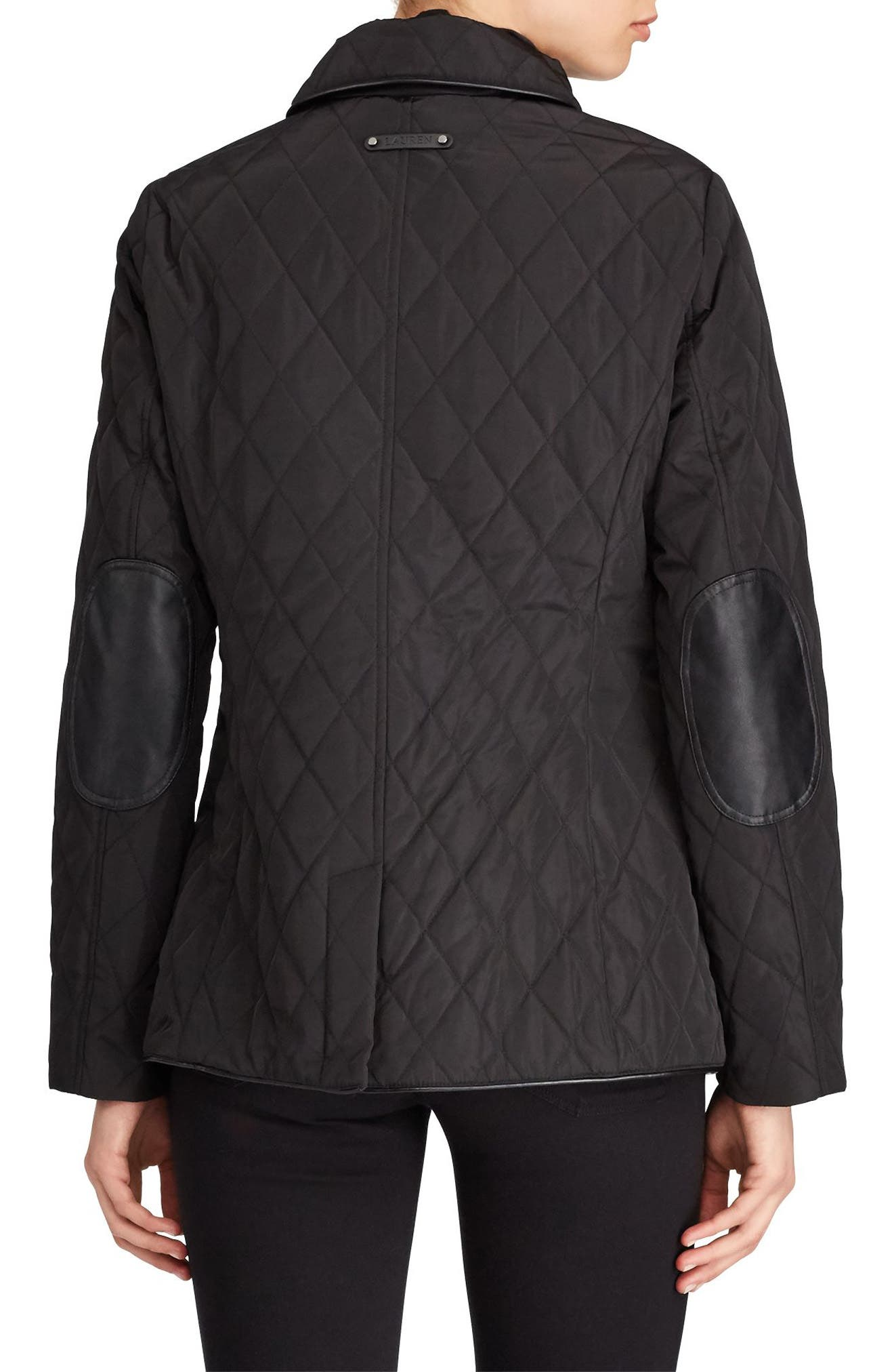 Alternate Image 3  - Lauren Ralph Lauren Faux Leather Trim Quilted Jacket (Regular & Petite)