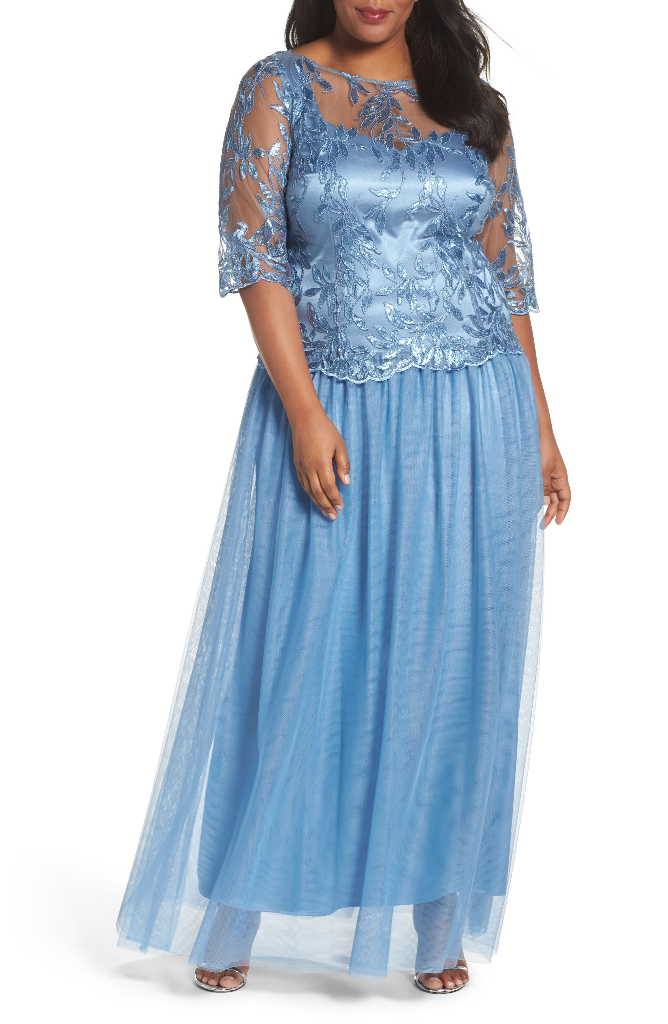Brianna Embellished Mesh Gown (Plus Size)