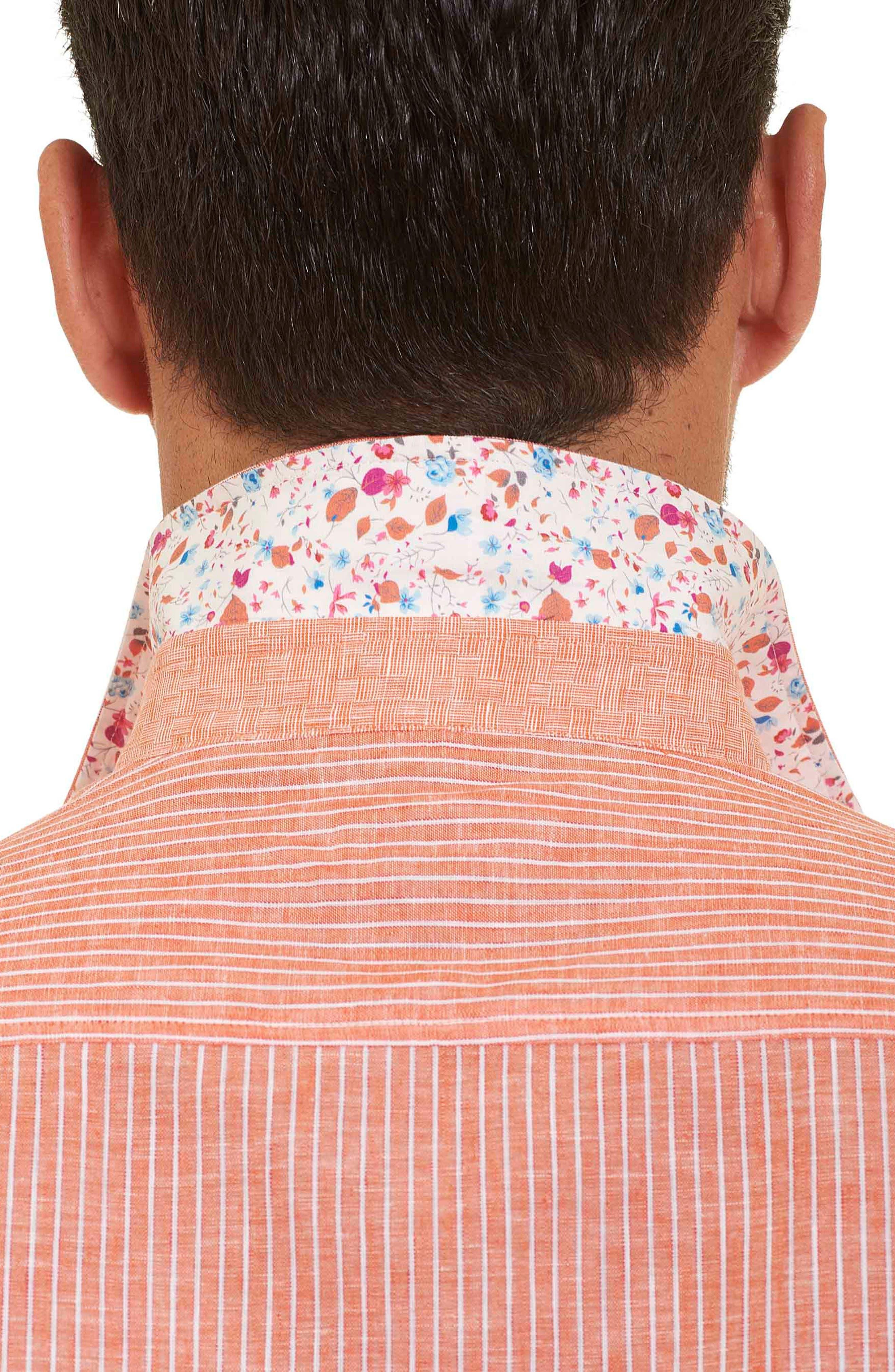 Alternate Image 5  - Robert Graham Tailored Fit Stripe Short Sleeve Sport Shirt