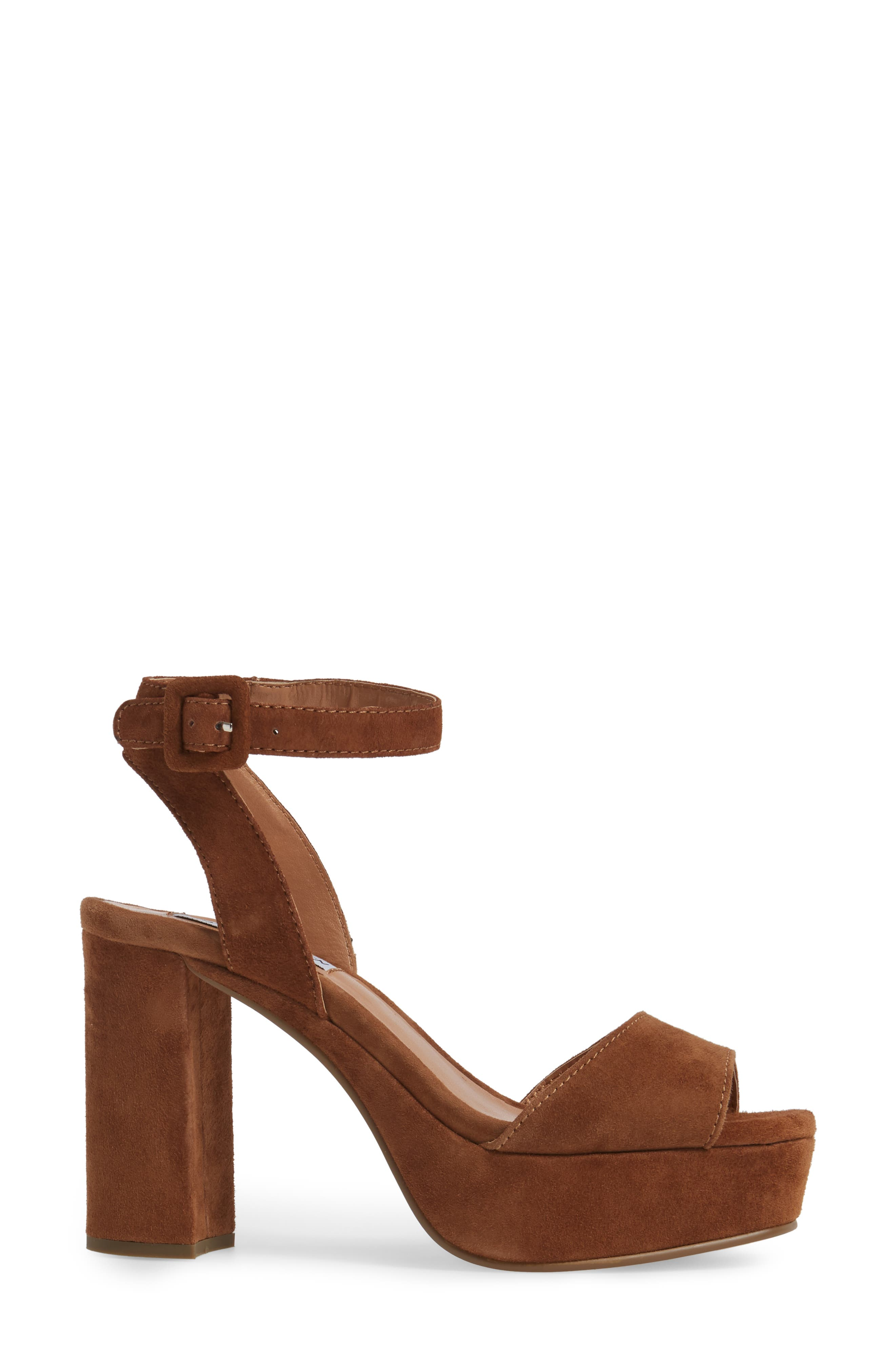Verdict Platform Sandal,                             Alternate thumbnail 3, color,                             Cognac Suede