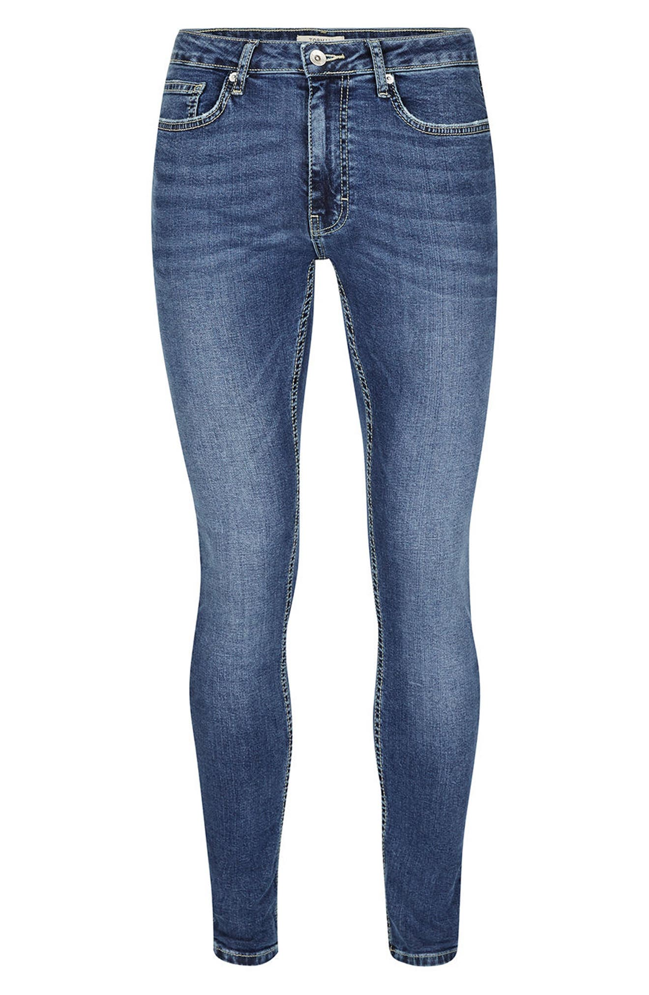 Spray-On Skinny Fit Jeans,                             Alternate thumbnail 6, color,                             Blue