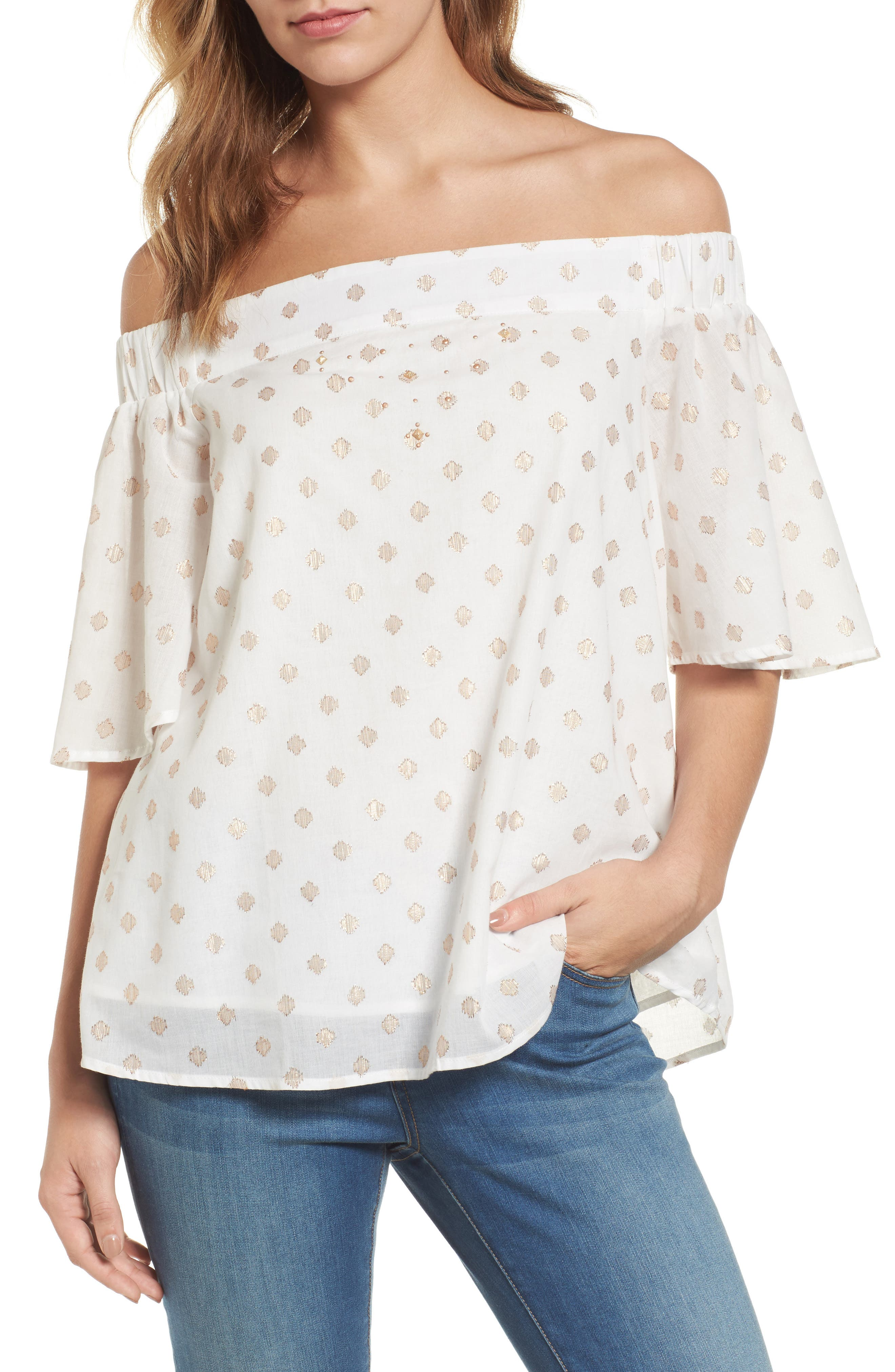 Zip Detail Embellished Off the Shoulder Top,                             Main thumbnail 1, color,                             Off White