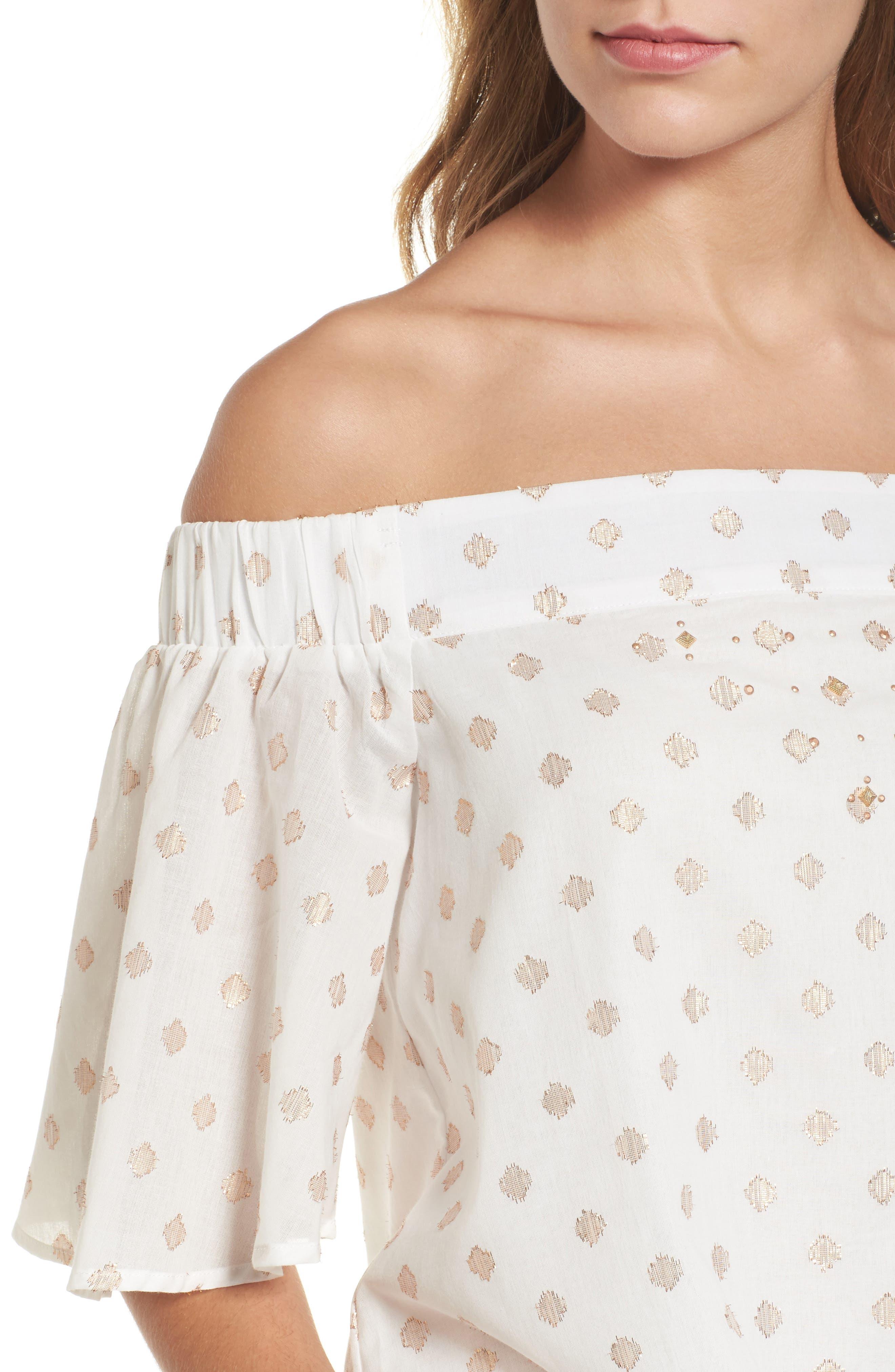 Alternate Image 4  - Wit & Wisdom Zip Detail Embellished Off the Shoulder Top (Nordstrom Exclusive)