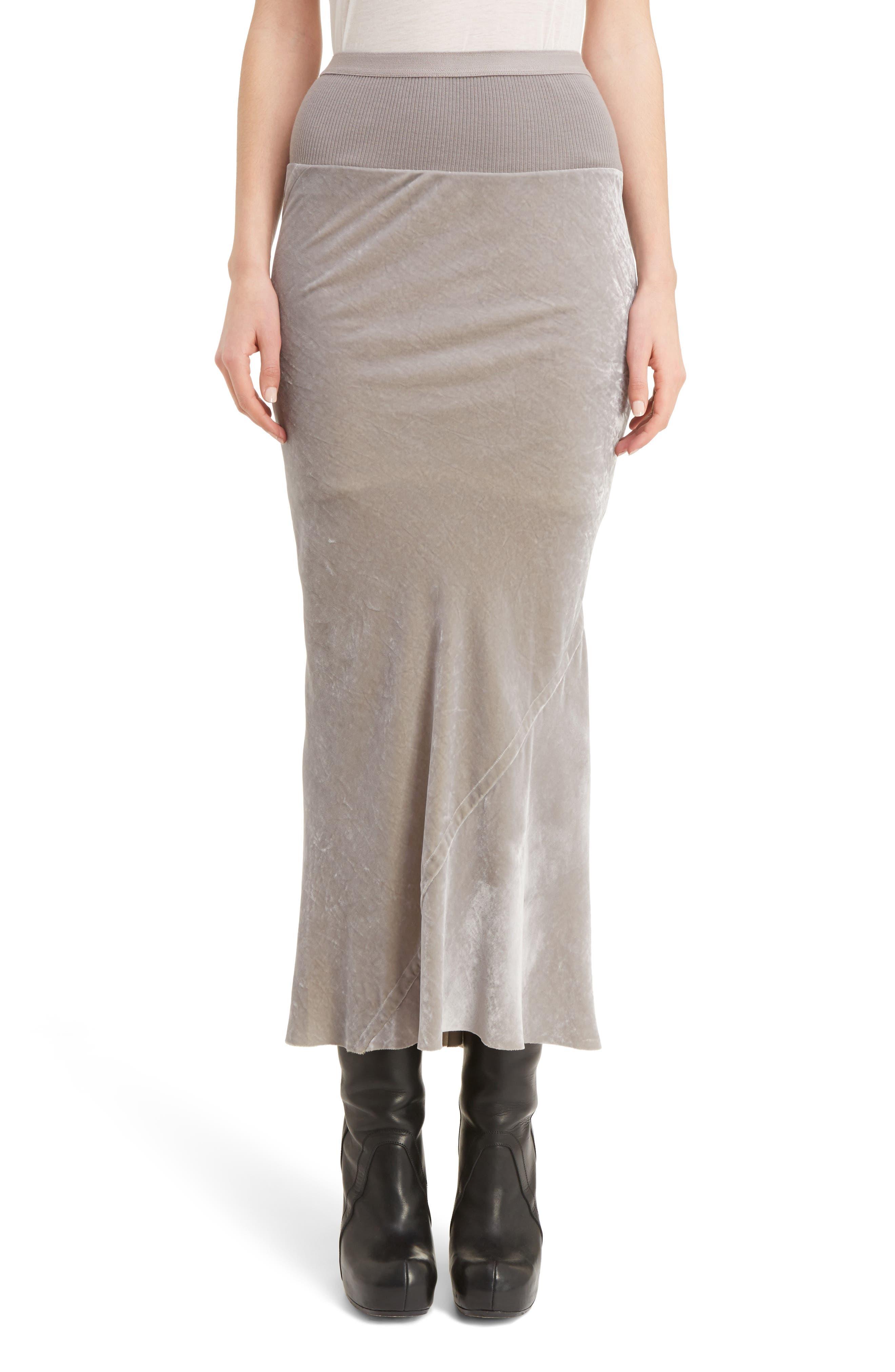 Rick Owens Knit Waist Velvet Skirt