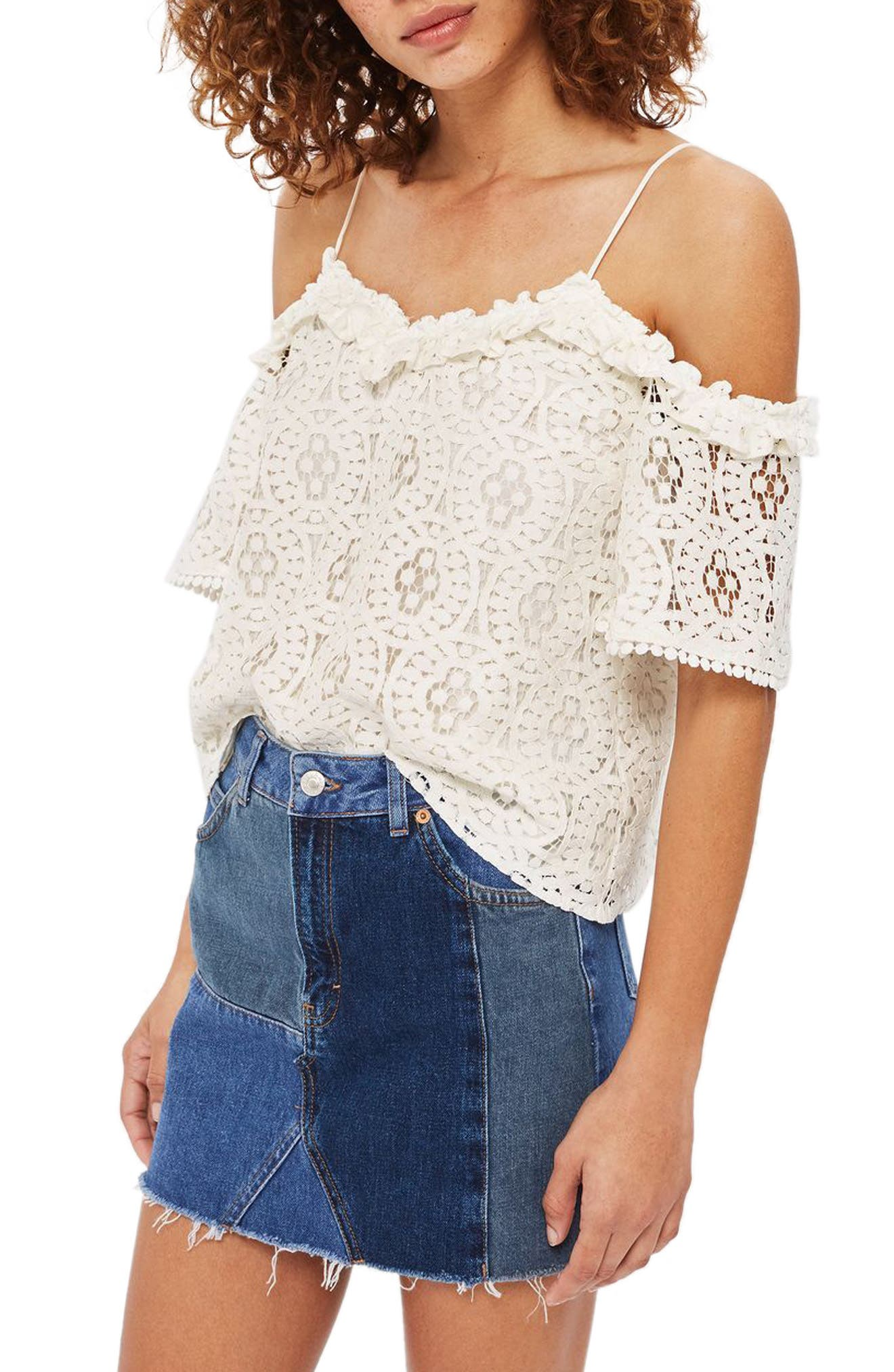 Alternate Image 1 Selected - Topshop Ruffle Lace Off the Shoulder Top