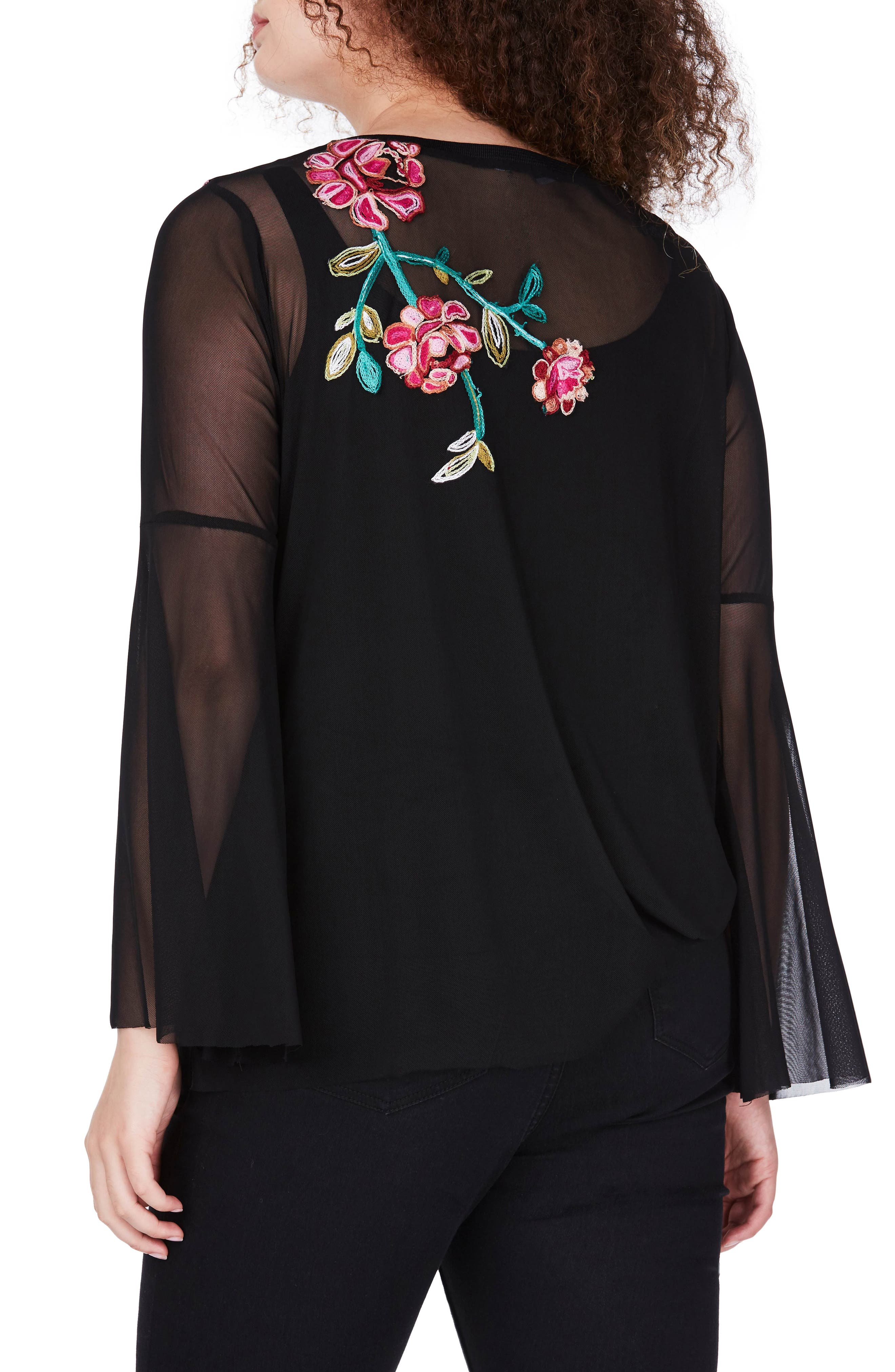 Embroidered Mesh Top,                             Alternate thumbnail 2, color,                             Black