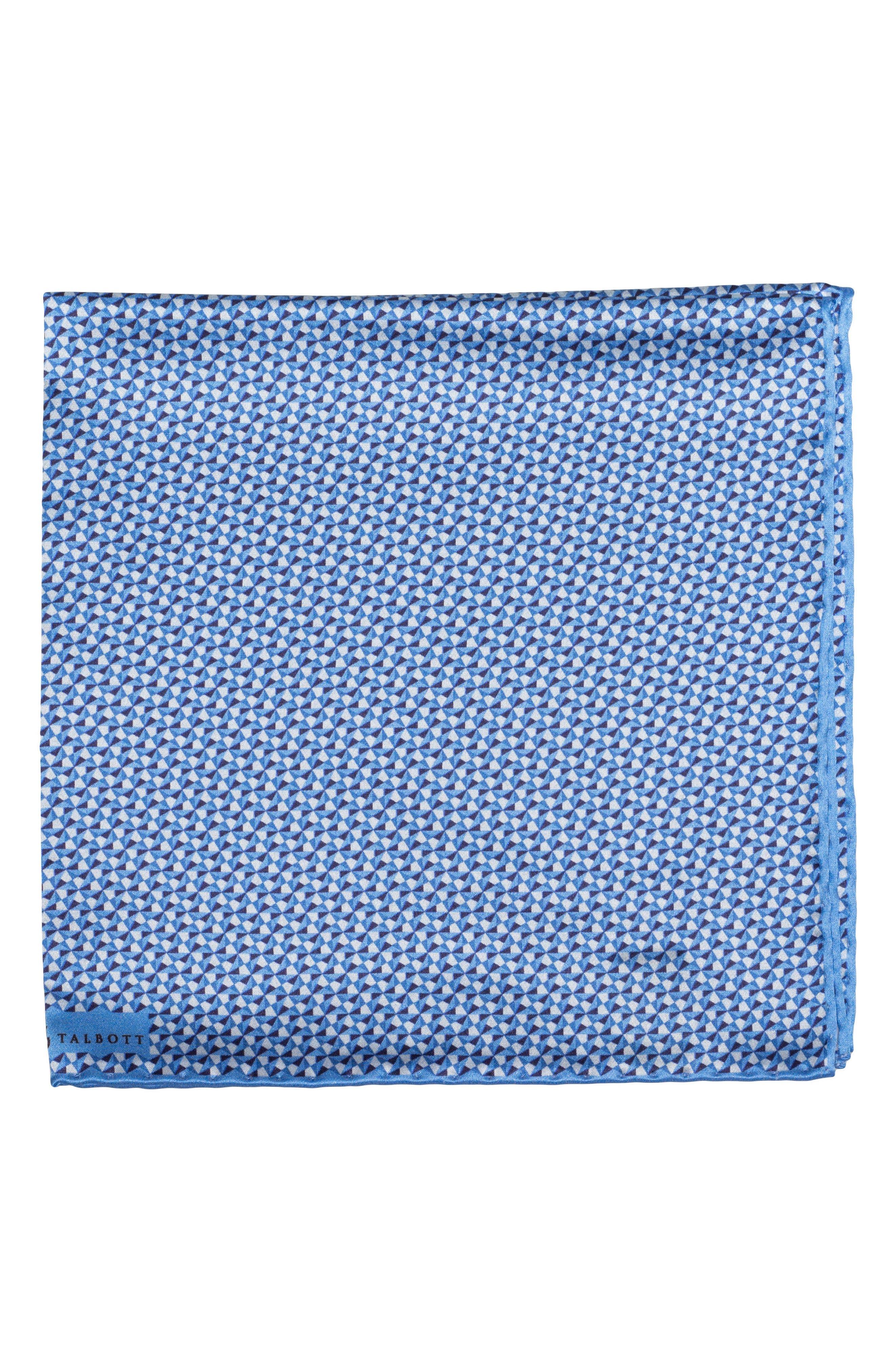 Geometric Silk Pocket Square,                             Main thumbnail 1, color,                             Blue
