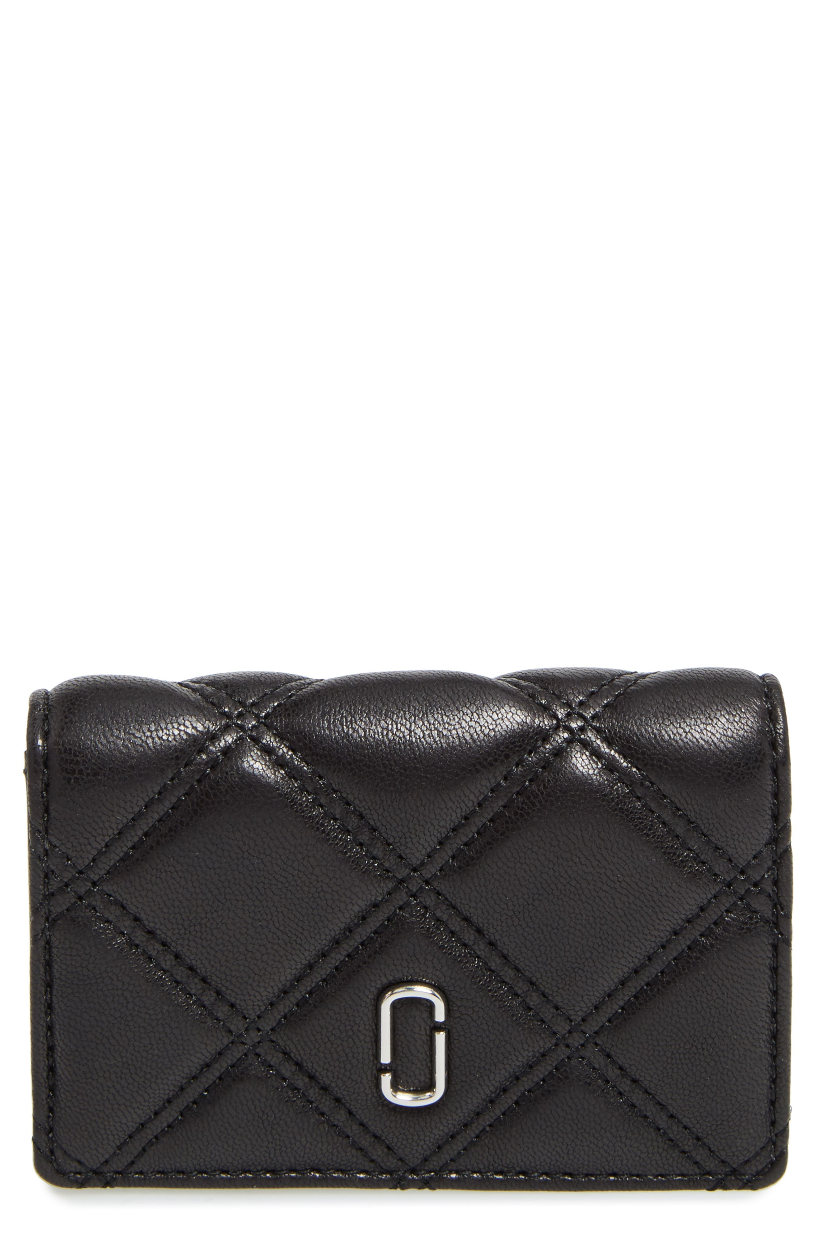 Quilted French Wallet,                         Main,                         color, Black