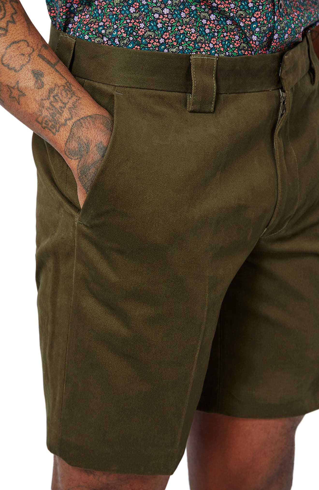 Twill Trouser Shorts,                             Alternate thumbnail 3, color,                             Olive