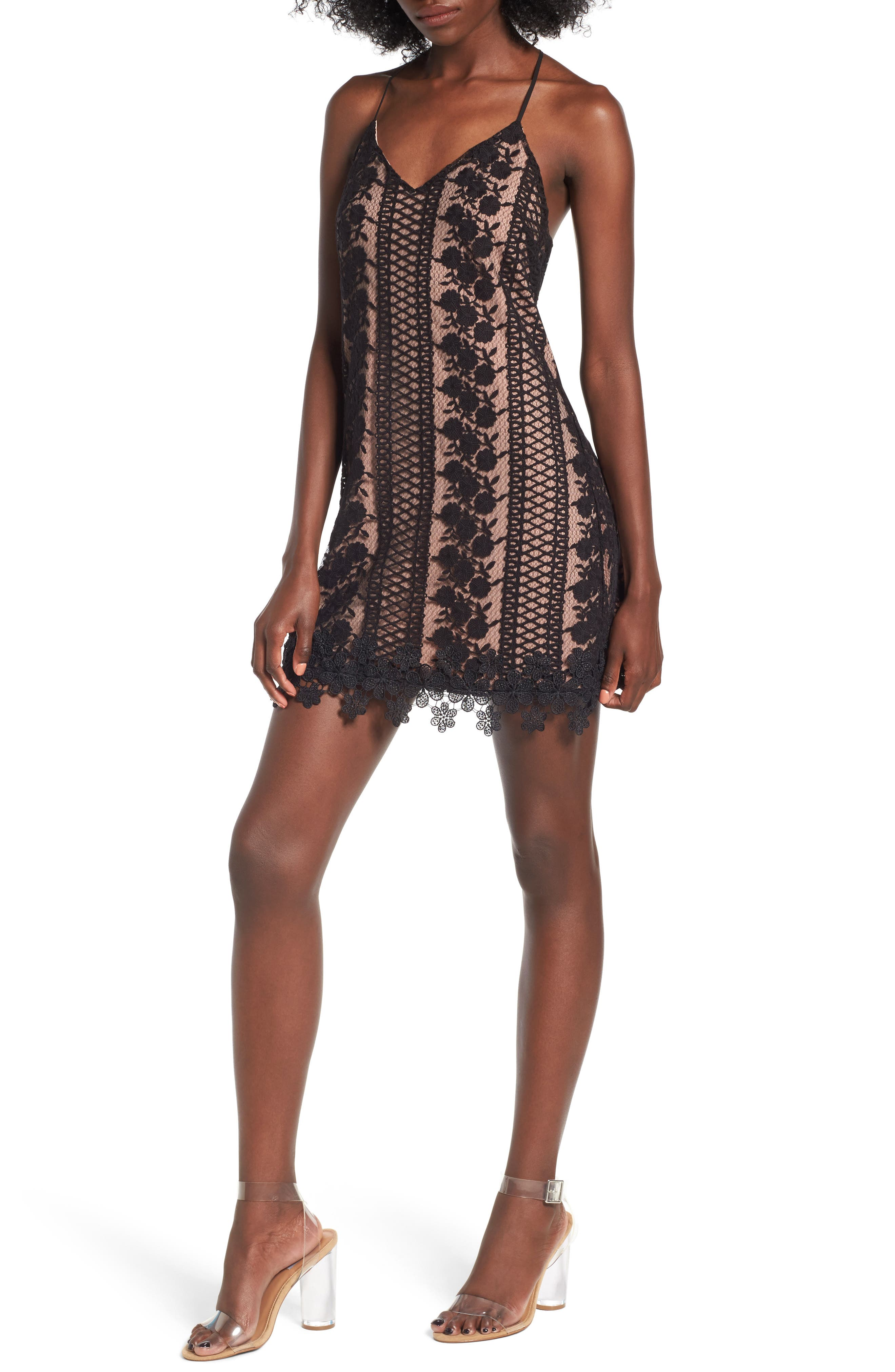 Acadia Lace Slipdress,                             Main thumbnail 1, color,                             Black